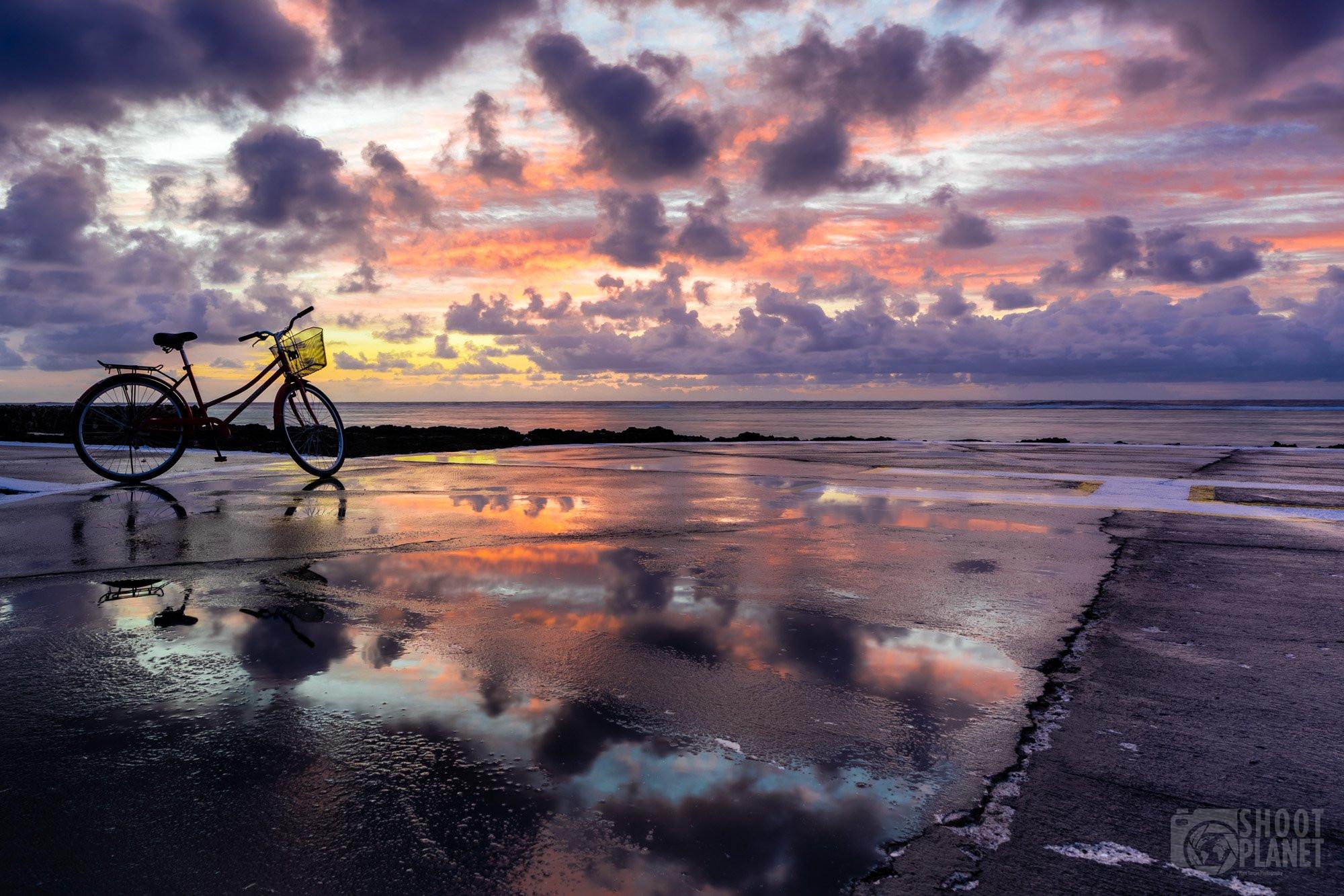 Bora Bora sunrise reflection at helicopter airstrip