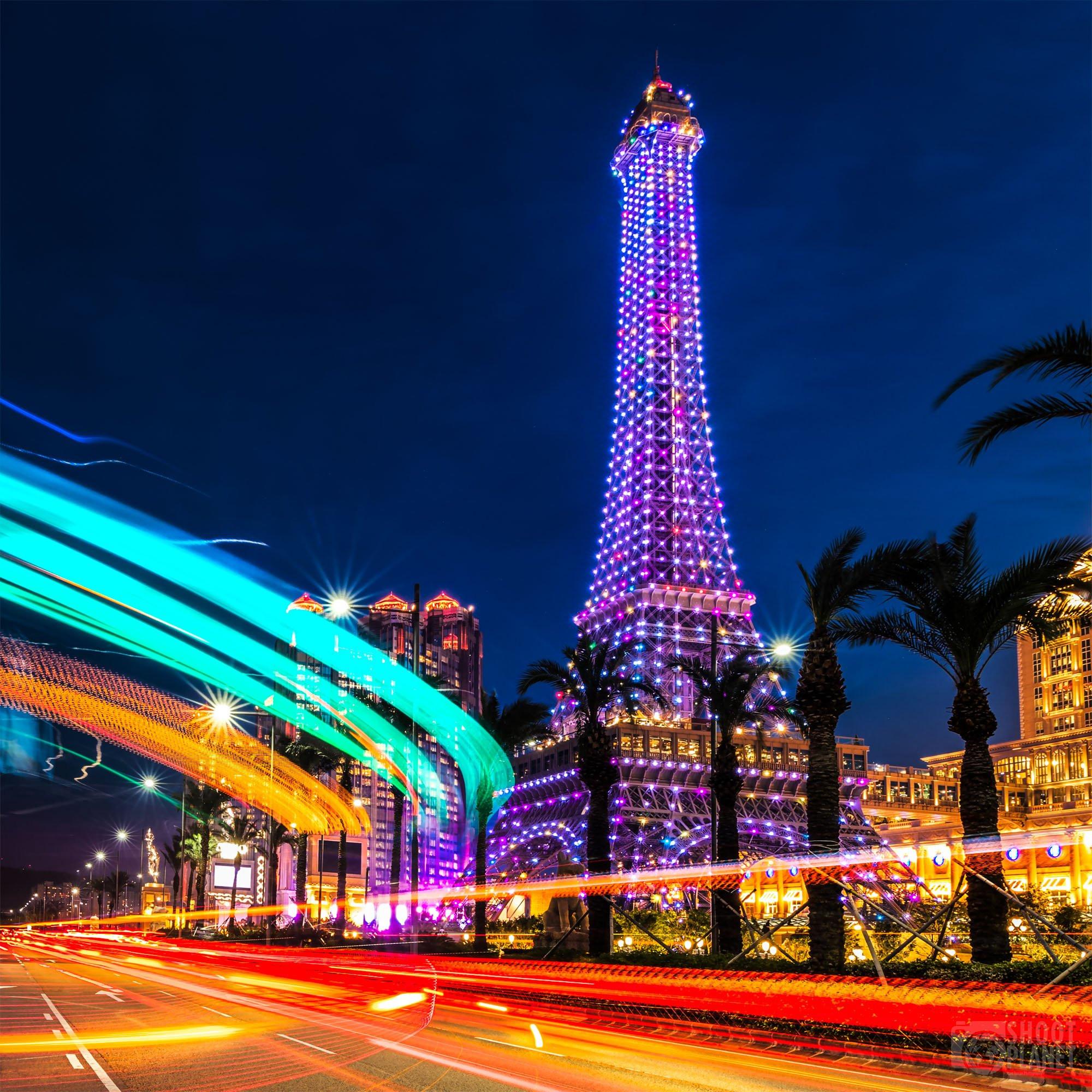 Eiffel Tower replica light trails, Macao, China