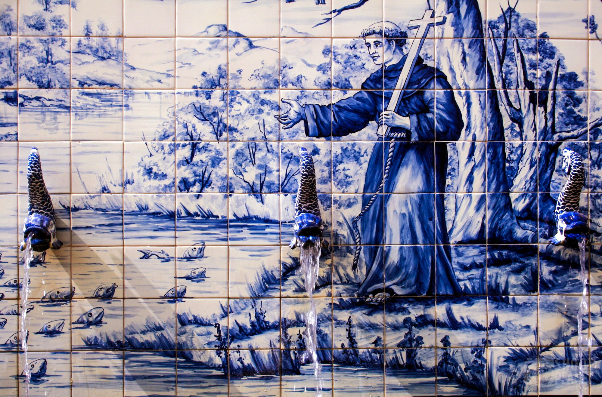 18th century Portugese tile fountain, Macao China