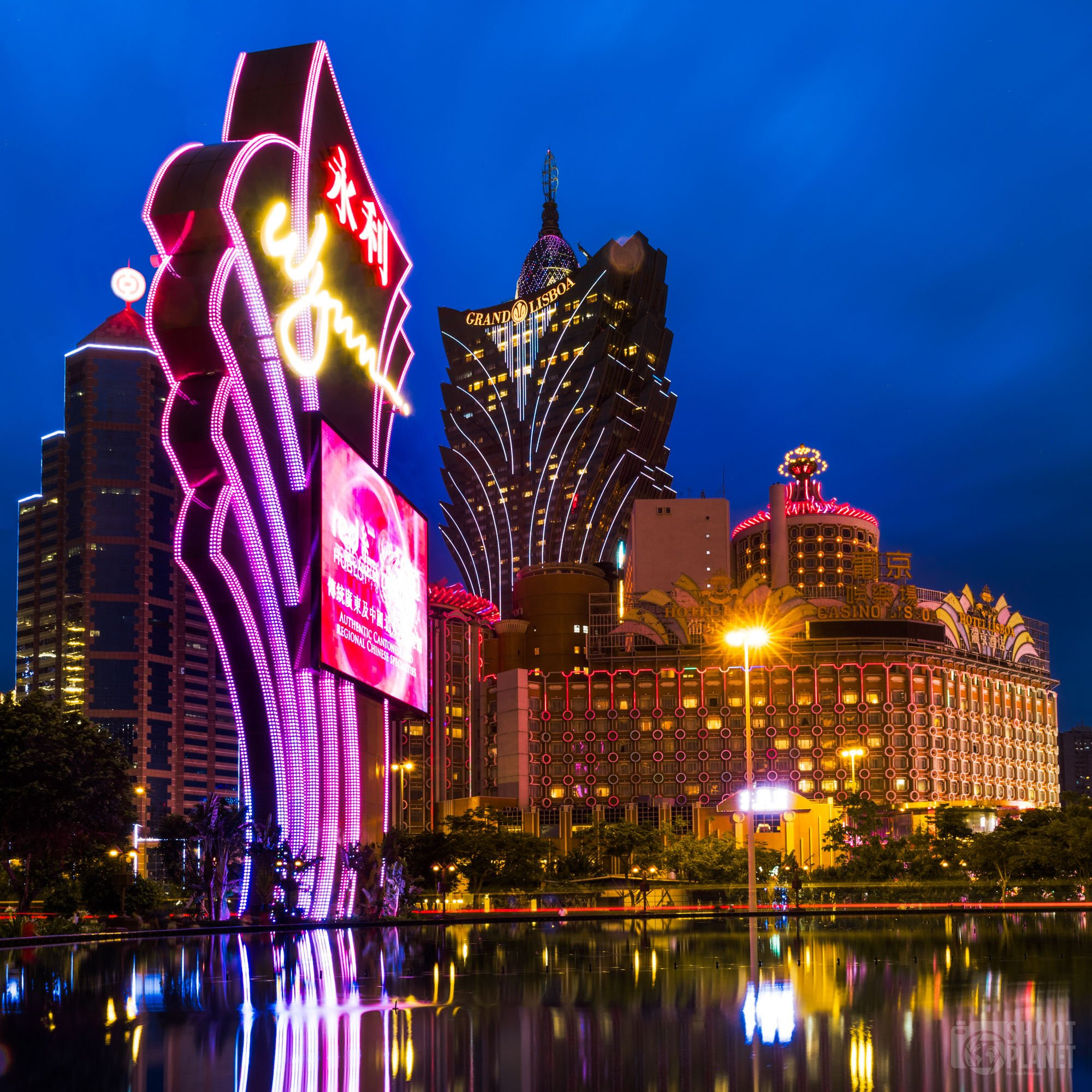 Grand Lisboa and Wynn casinos twilight, Macao