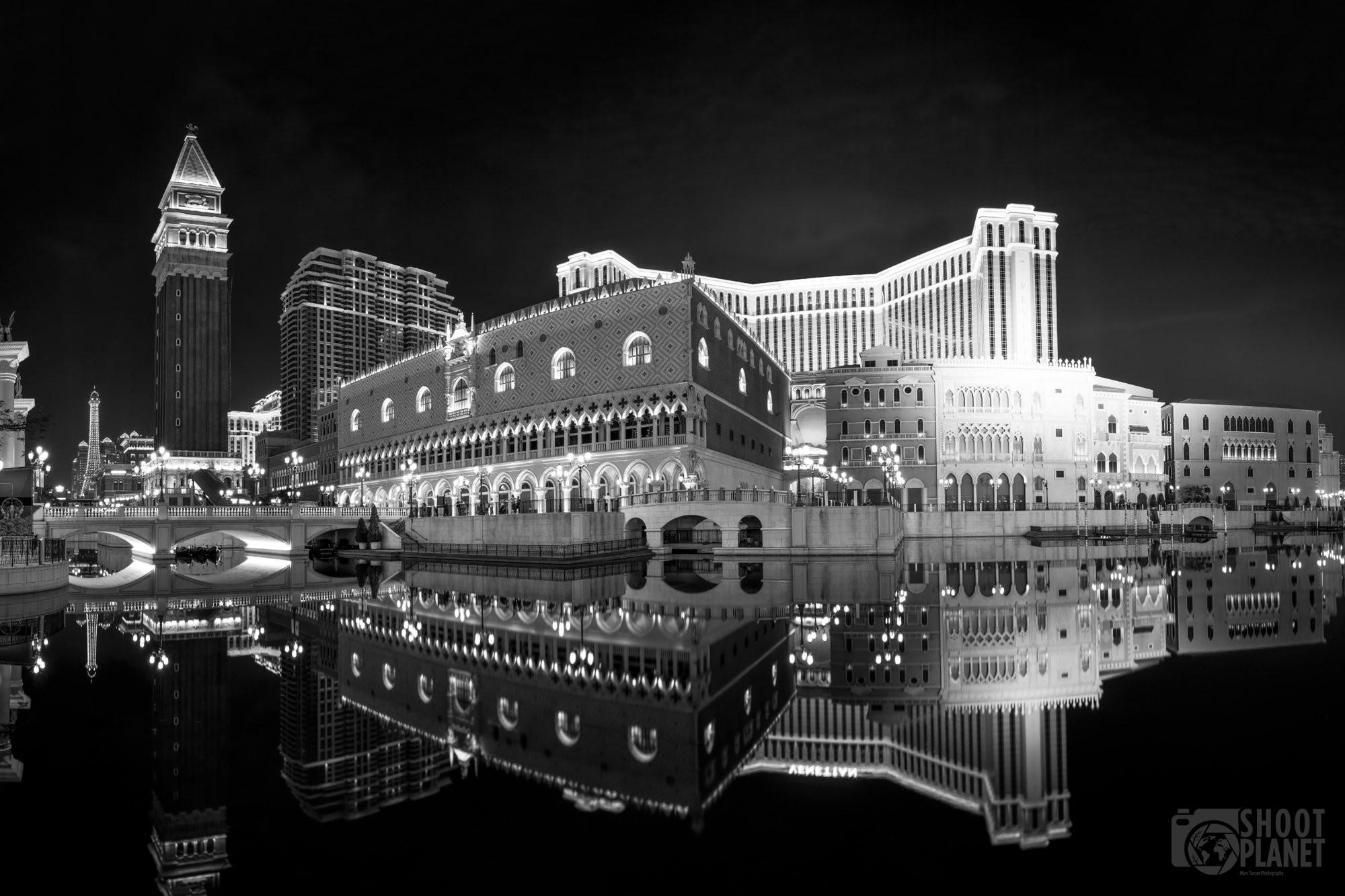 Nighttime Venetian casino replica reflection, Macao China