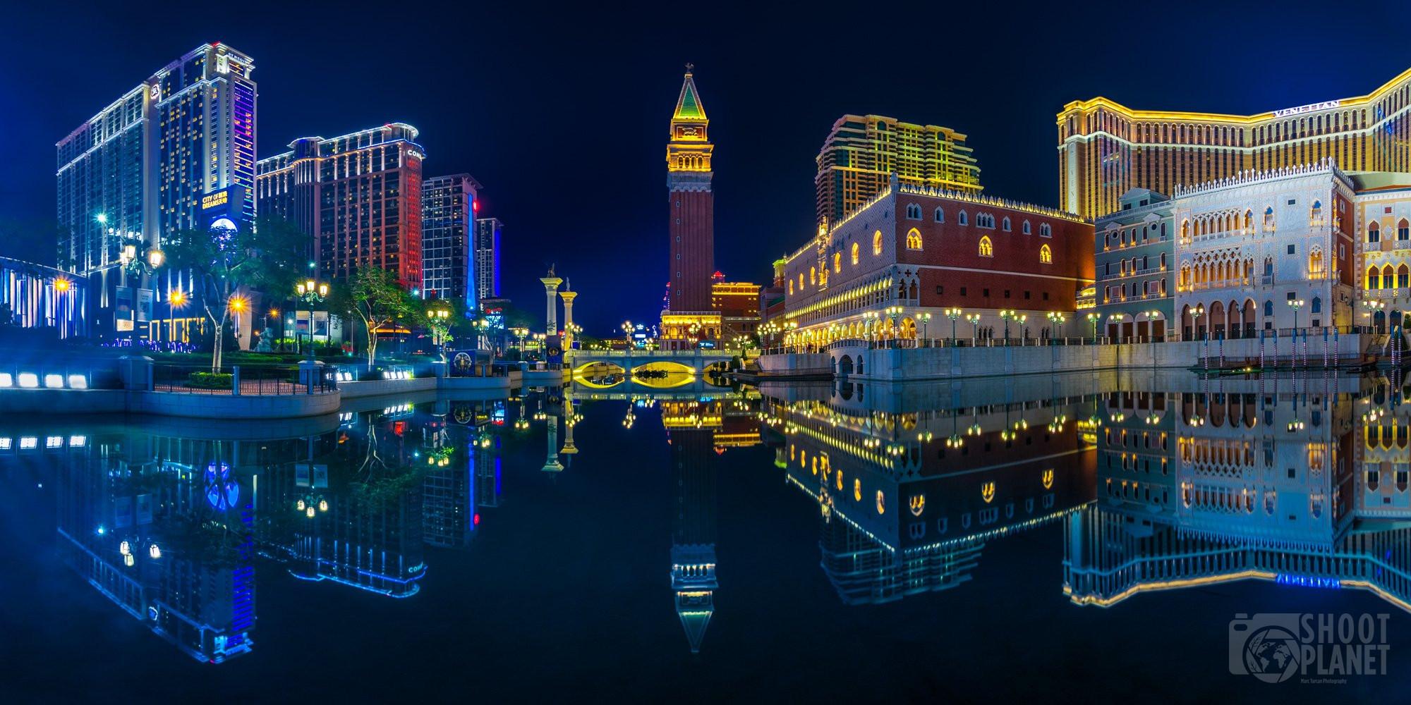 Nighttime Venetian casino reflection in Macao, China