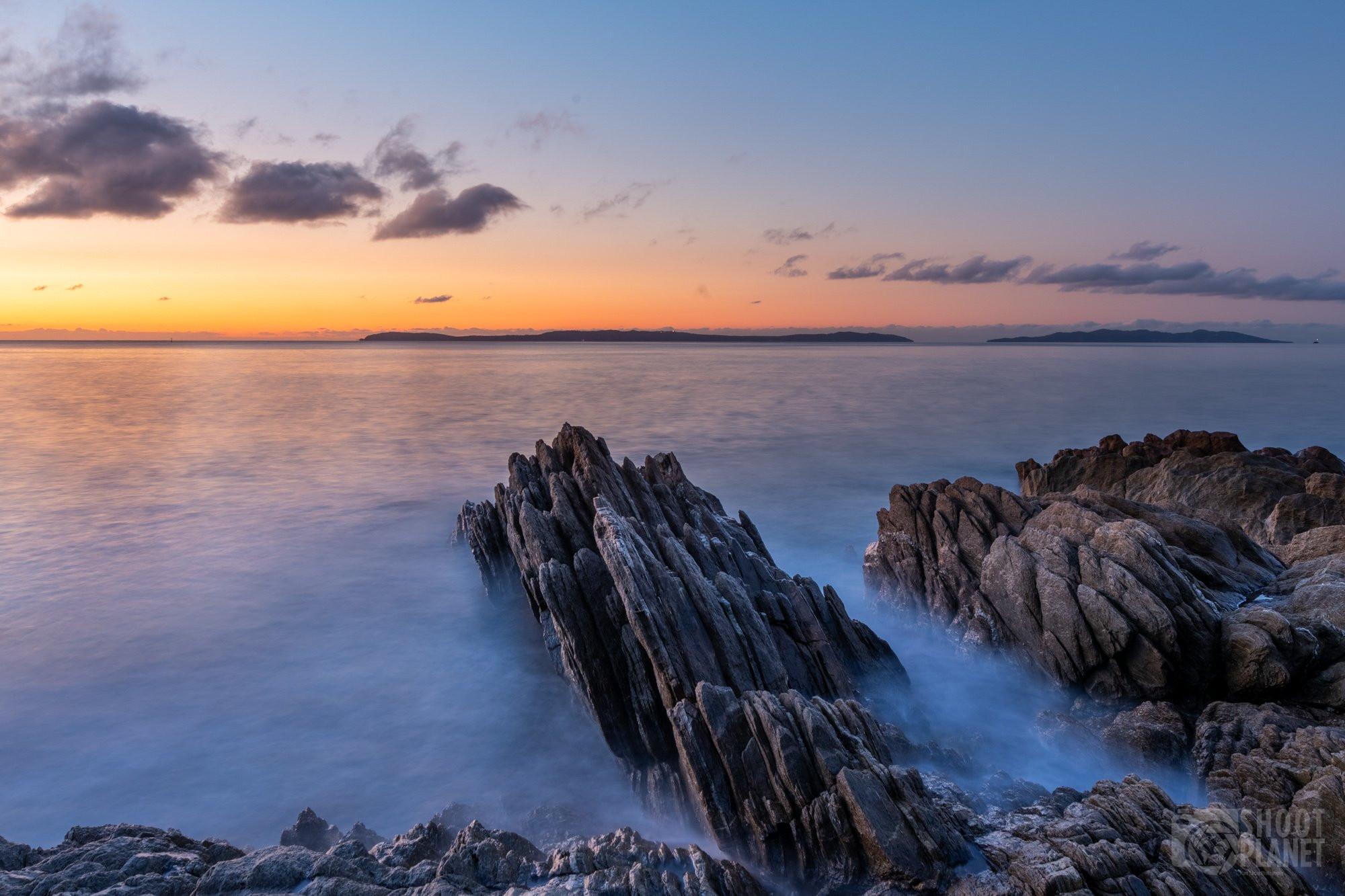 Sunrise on pointe Layet rocks, Lavandou France