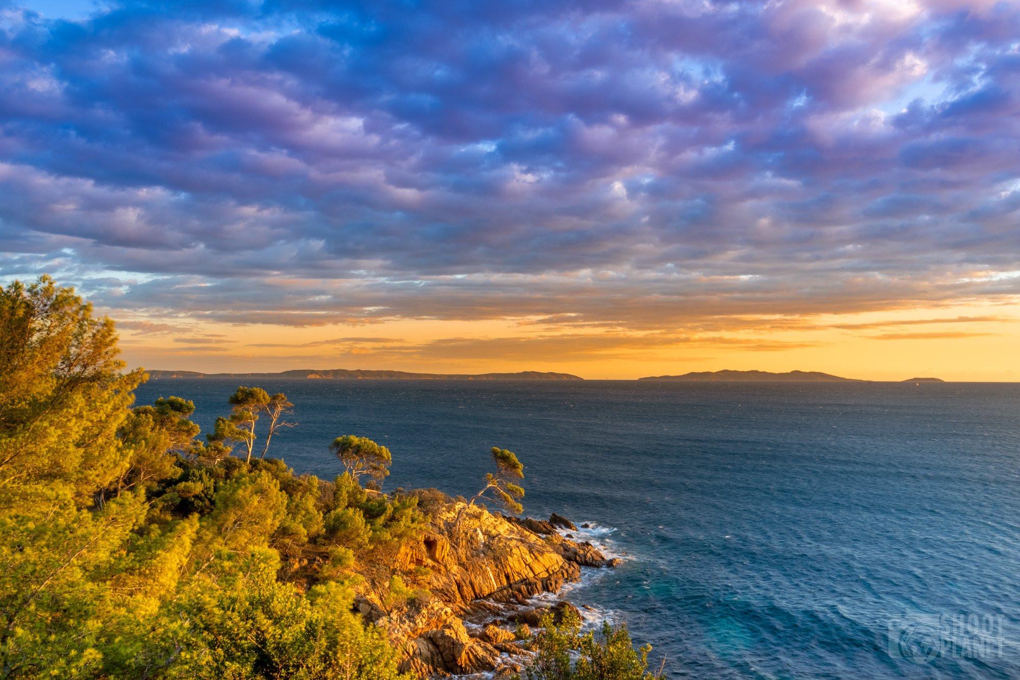 Sunset on golden islands, Azure Coast France