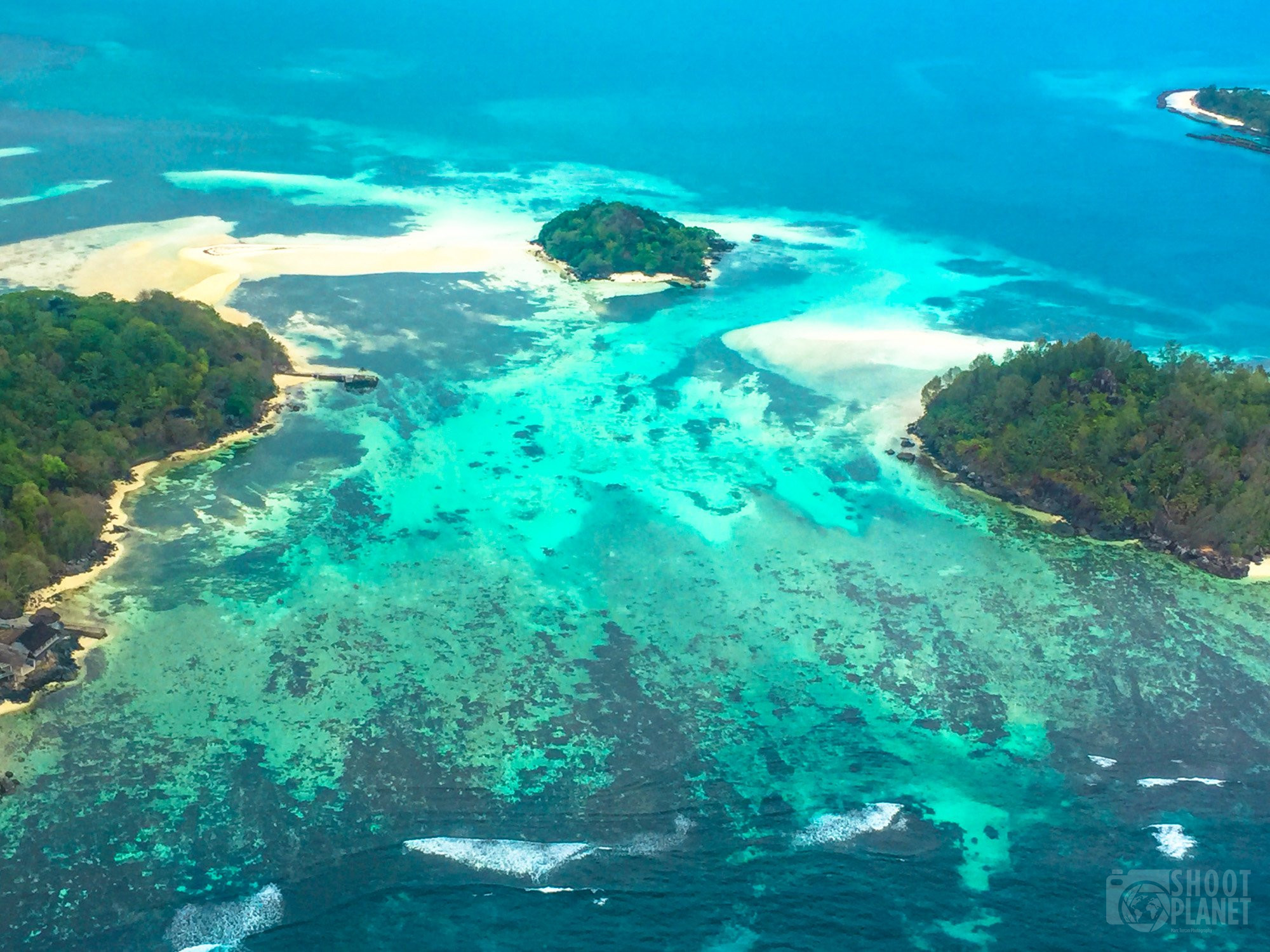 Aerial view in La Digue Island Seychelles