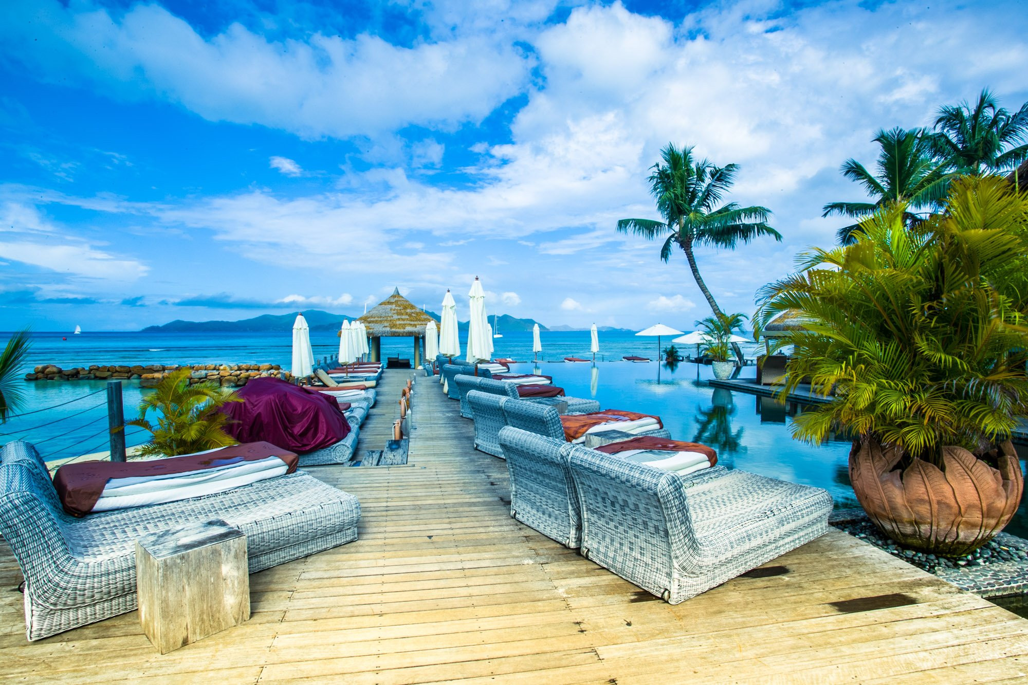 Luxury hotel pier in La digue Island, Seychelles