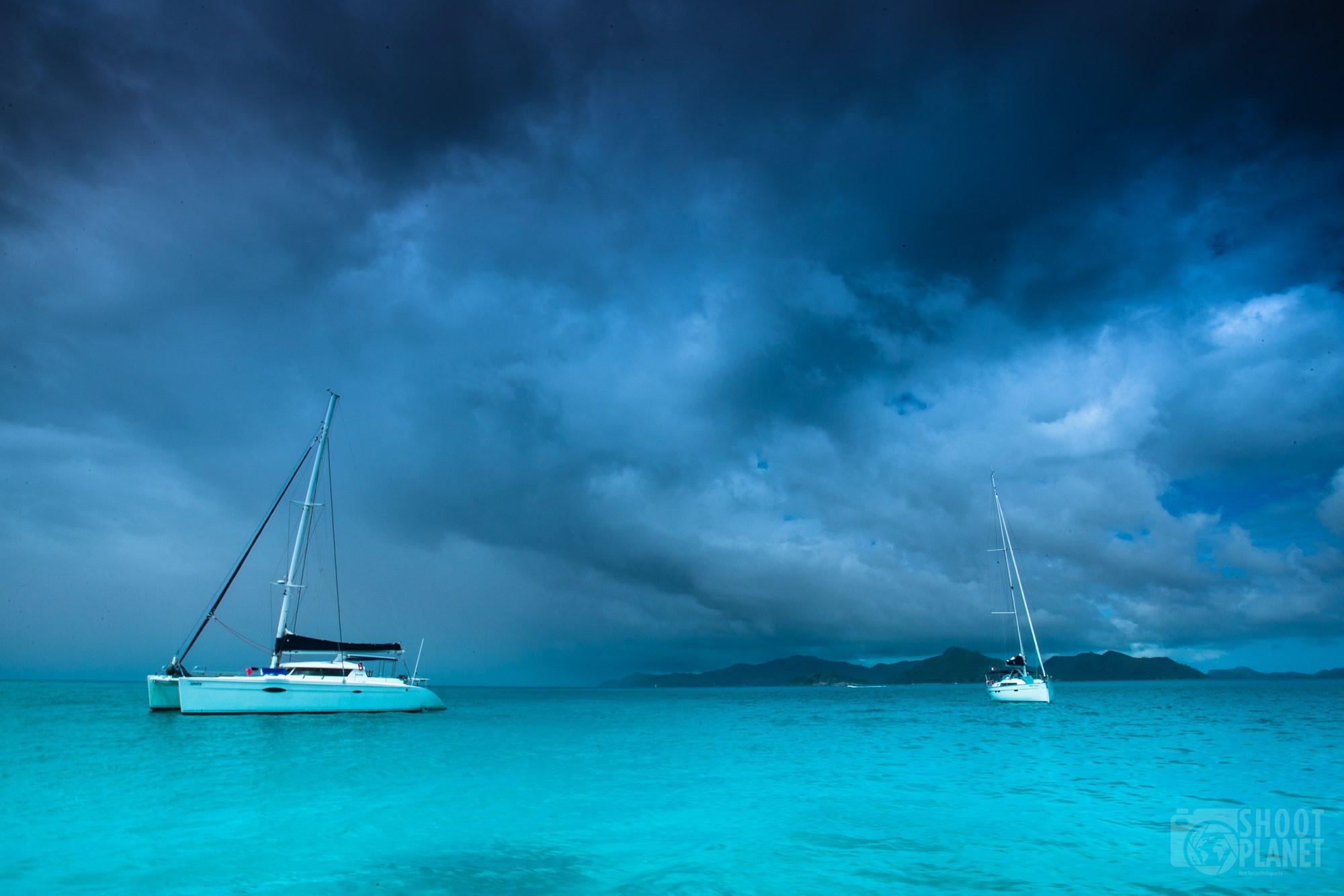 Storm colors in La Digue Island Seychelles