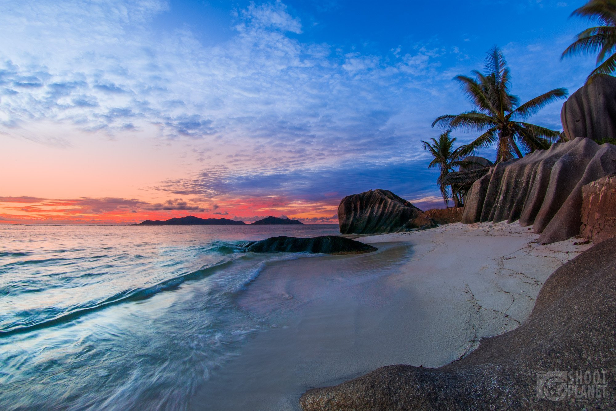 Beach and rocks sunrise, La Digue, Seychelles