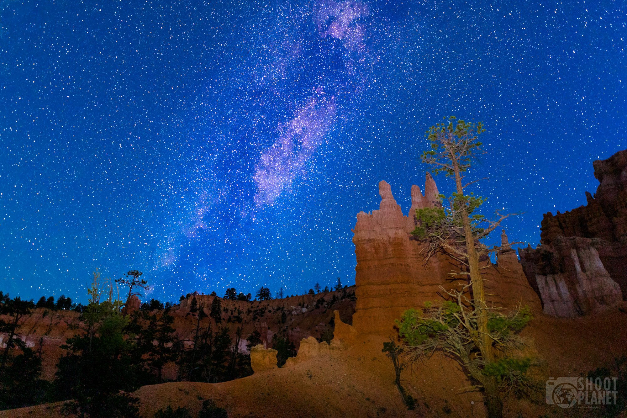 Bryce Canyon Milky Way and lit-up formations, USA