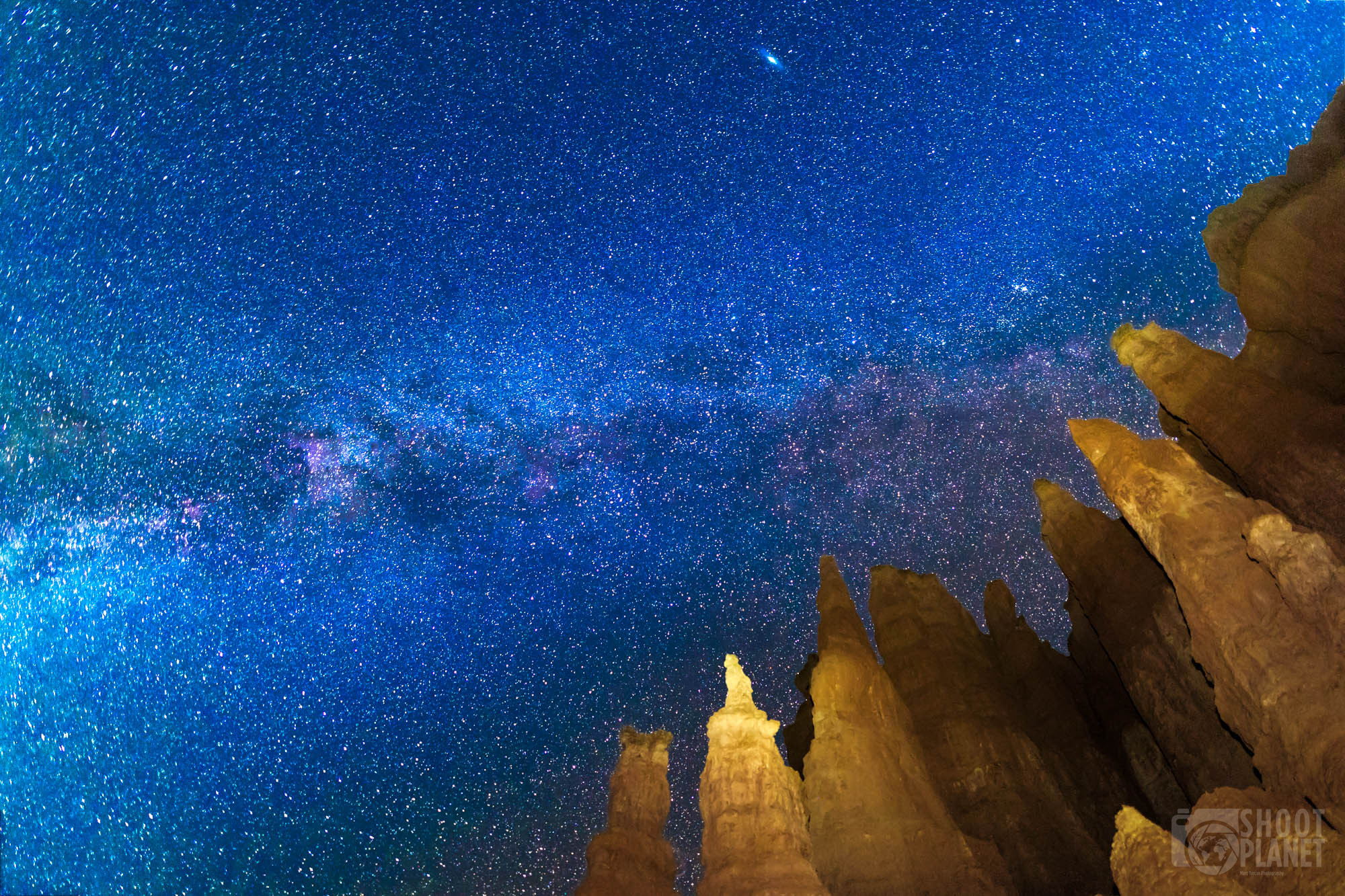 Bryce Canyon Milky Way and lit-up rocks, USA
