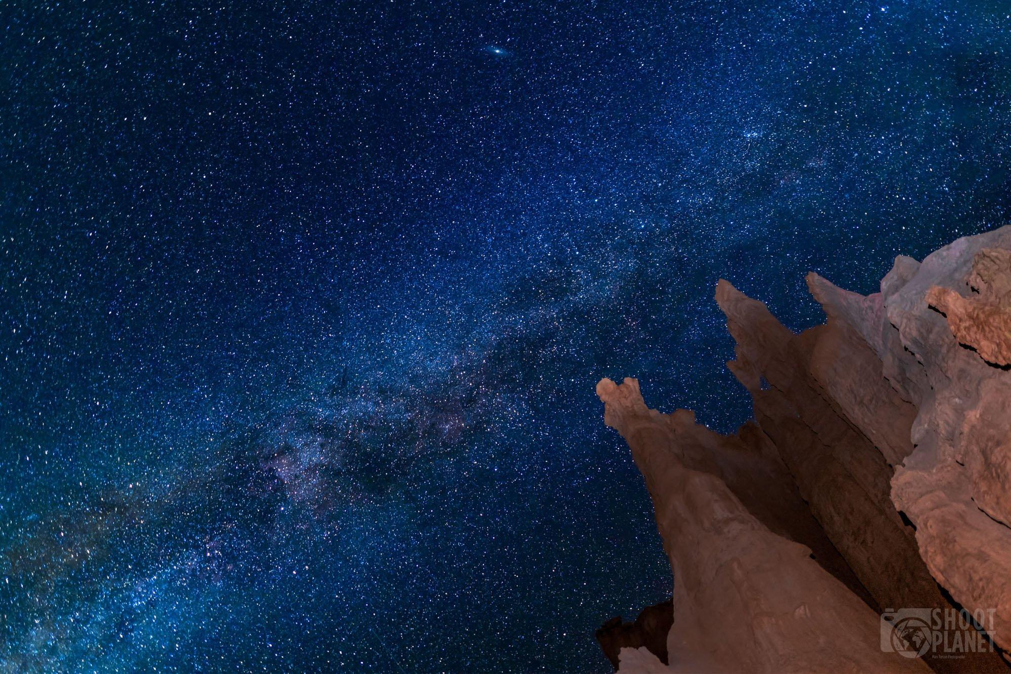 Bryce Canyon Milky Way and lit-up rocks, USA