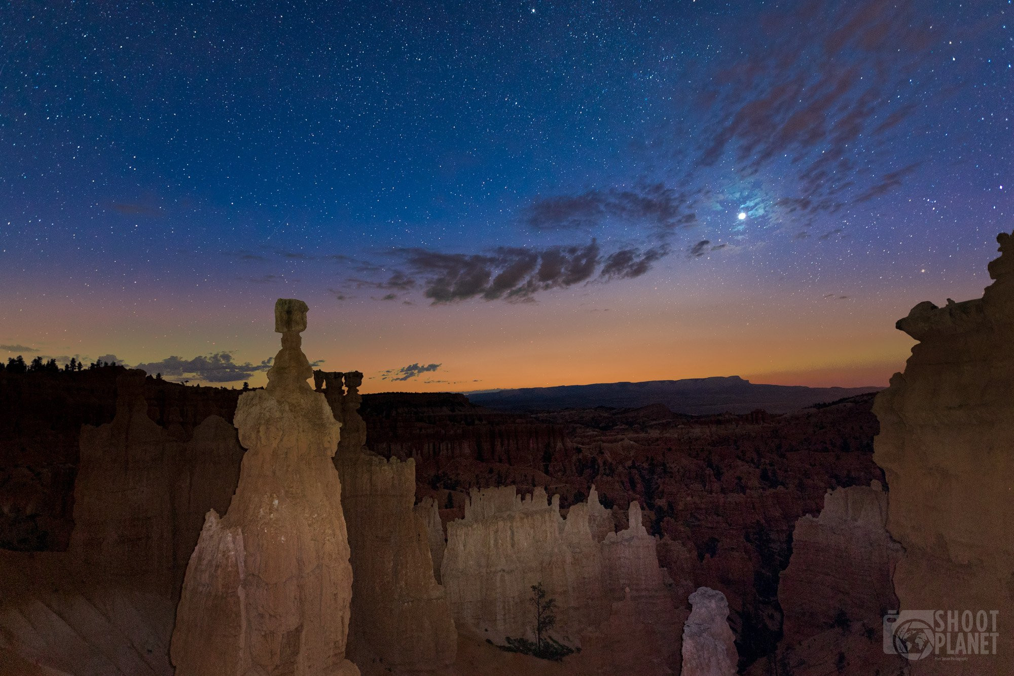 Twilight moon, Bryce Canyon National Park, USA