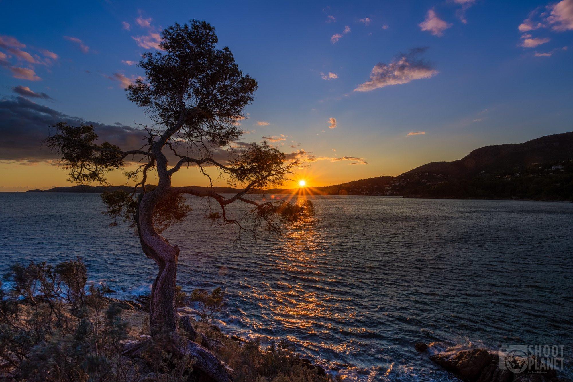 Pointe Layet sunset, Azure coast France