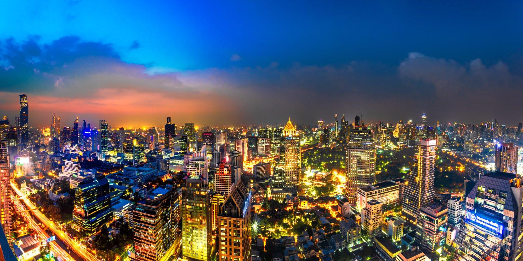 Rooftop panoramic skyline twilight, Bangkok, Thailand