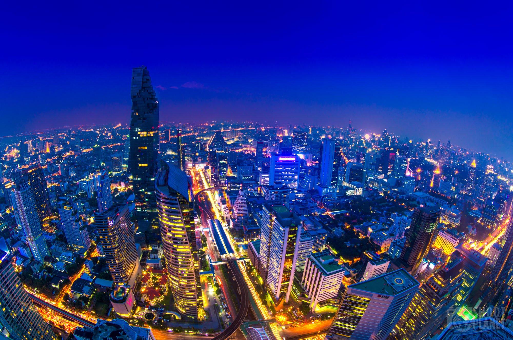 Rooftop night skyline fisheye, Bangkok, Thailand