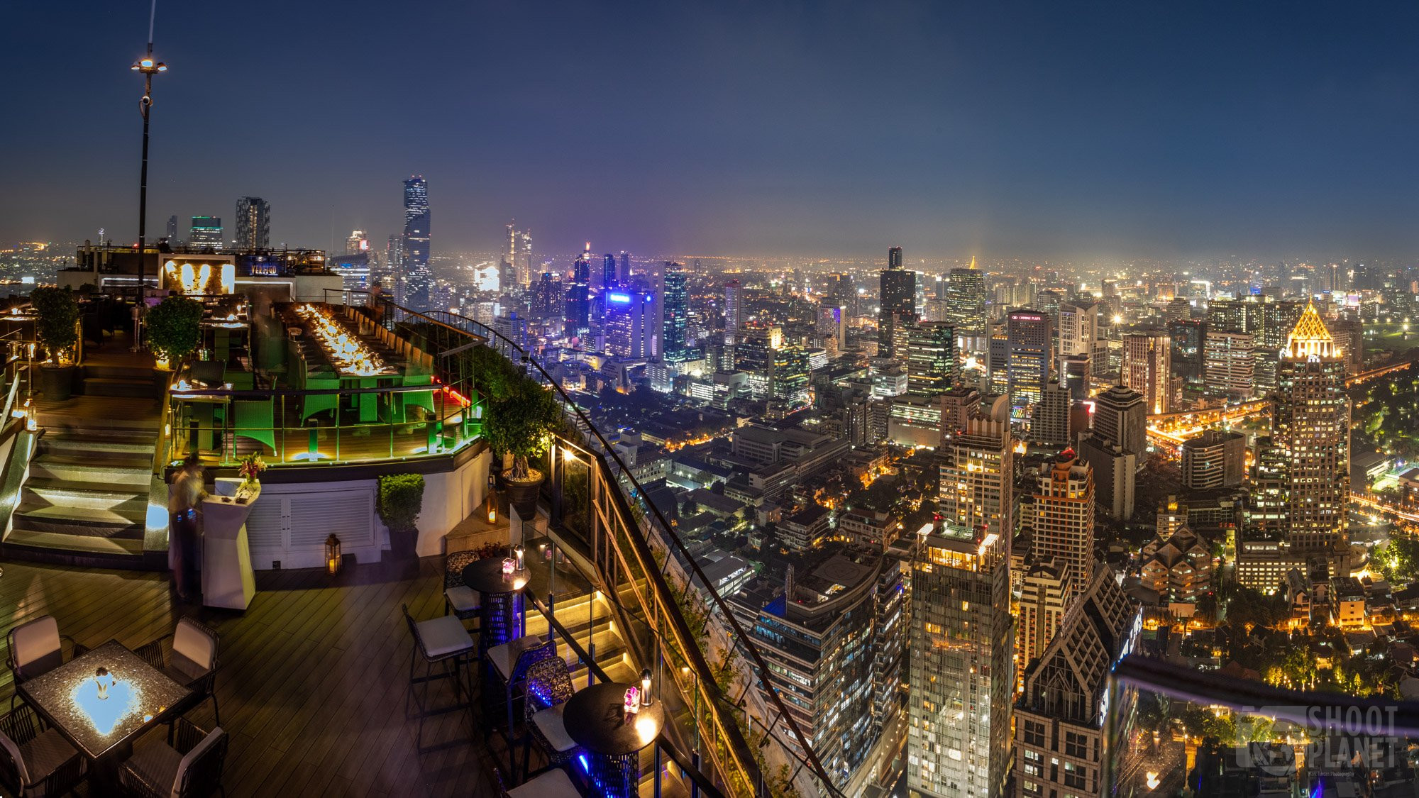 Rooftop panoramic skyline view, Bangkok, Thailand