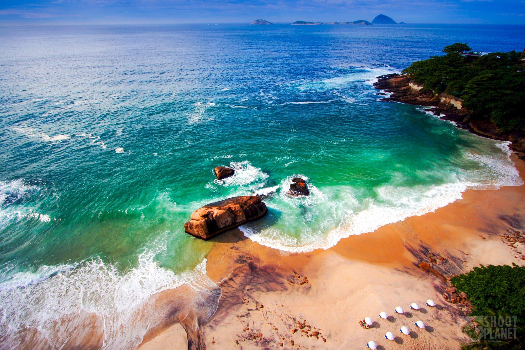 Rio de Janeiro aerial beach view, Brazil