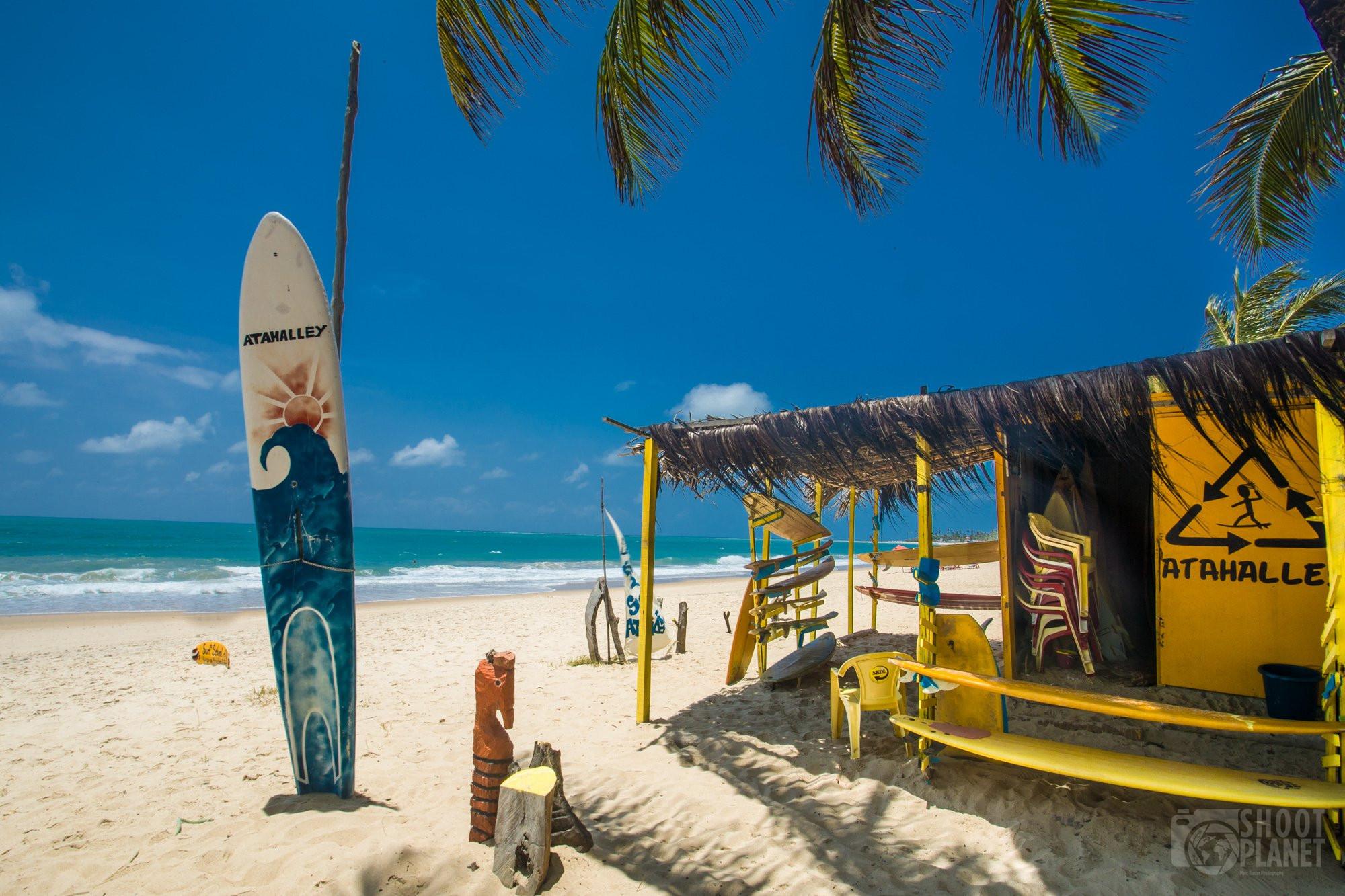 Porto de Galinhas beach surfboards, Brazil