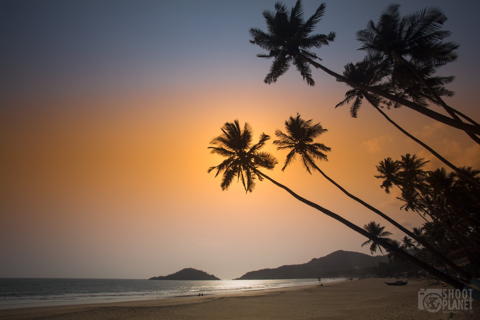 Palolem beach palm trees sunset , Goa India