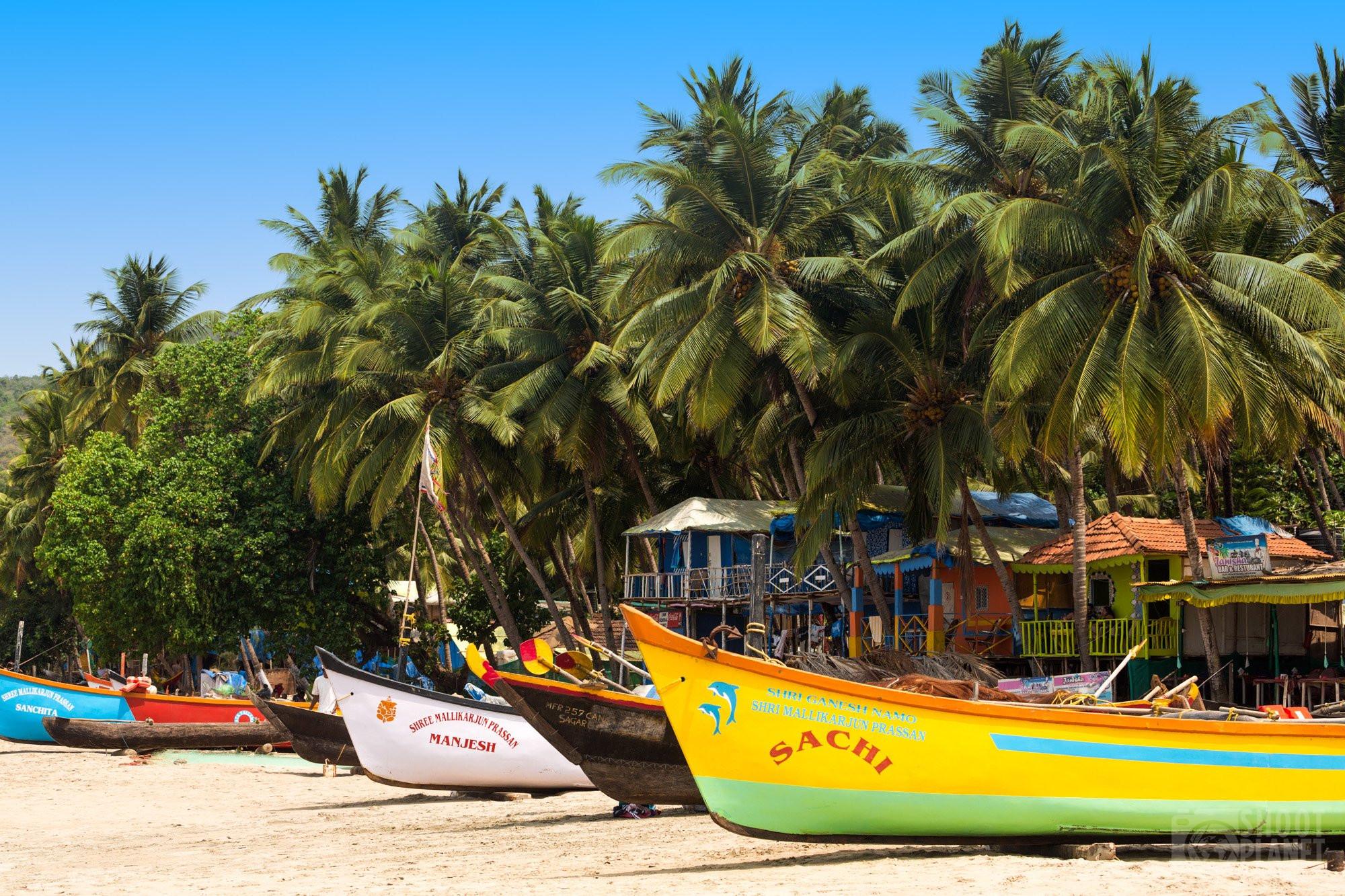 Palolem beach colorful boats, Goa India