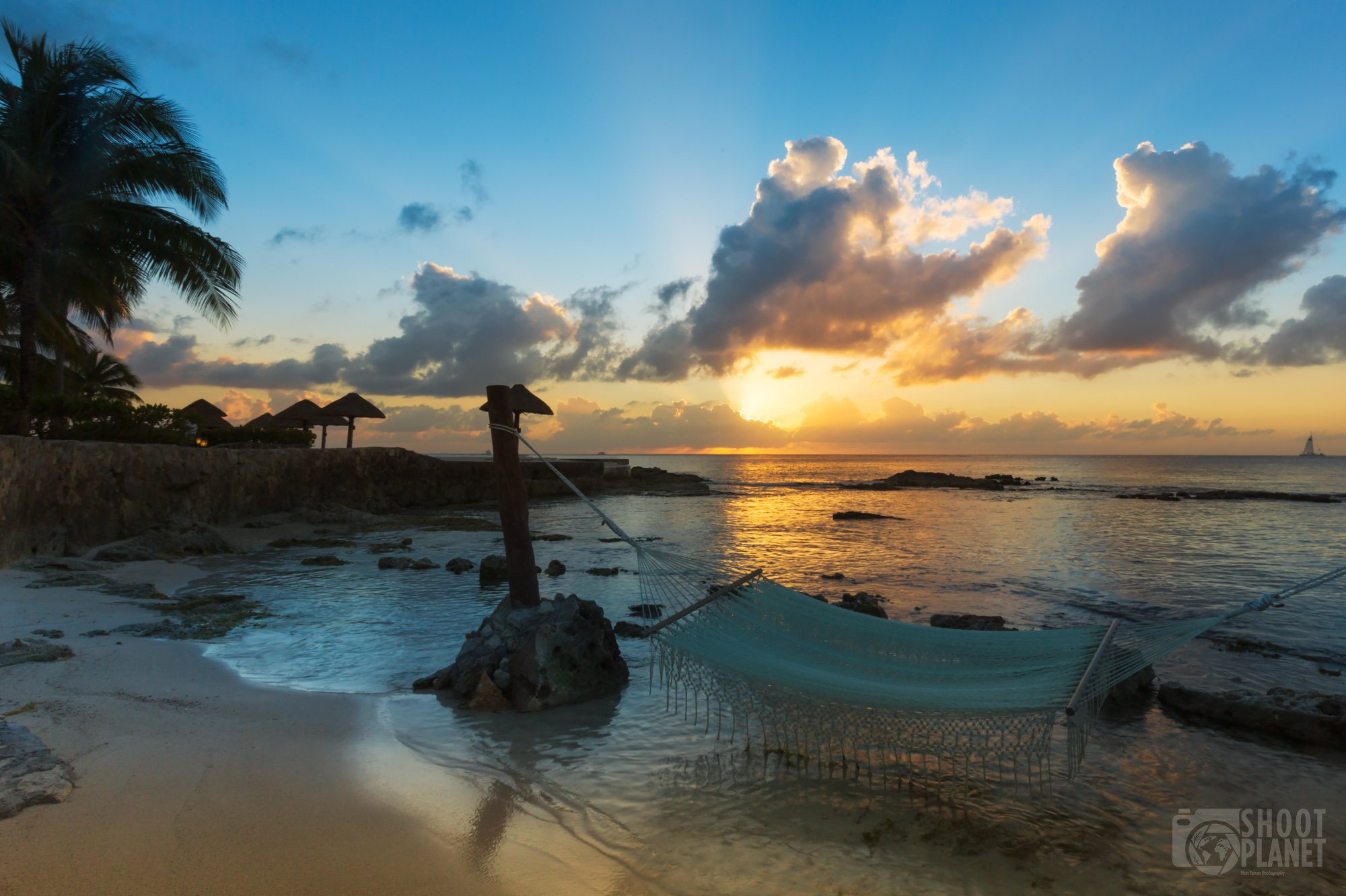 Hammock on the beach sunset, Cozumel, Mexico