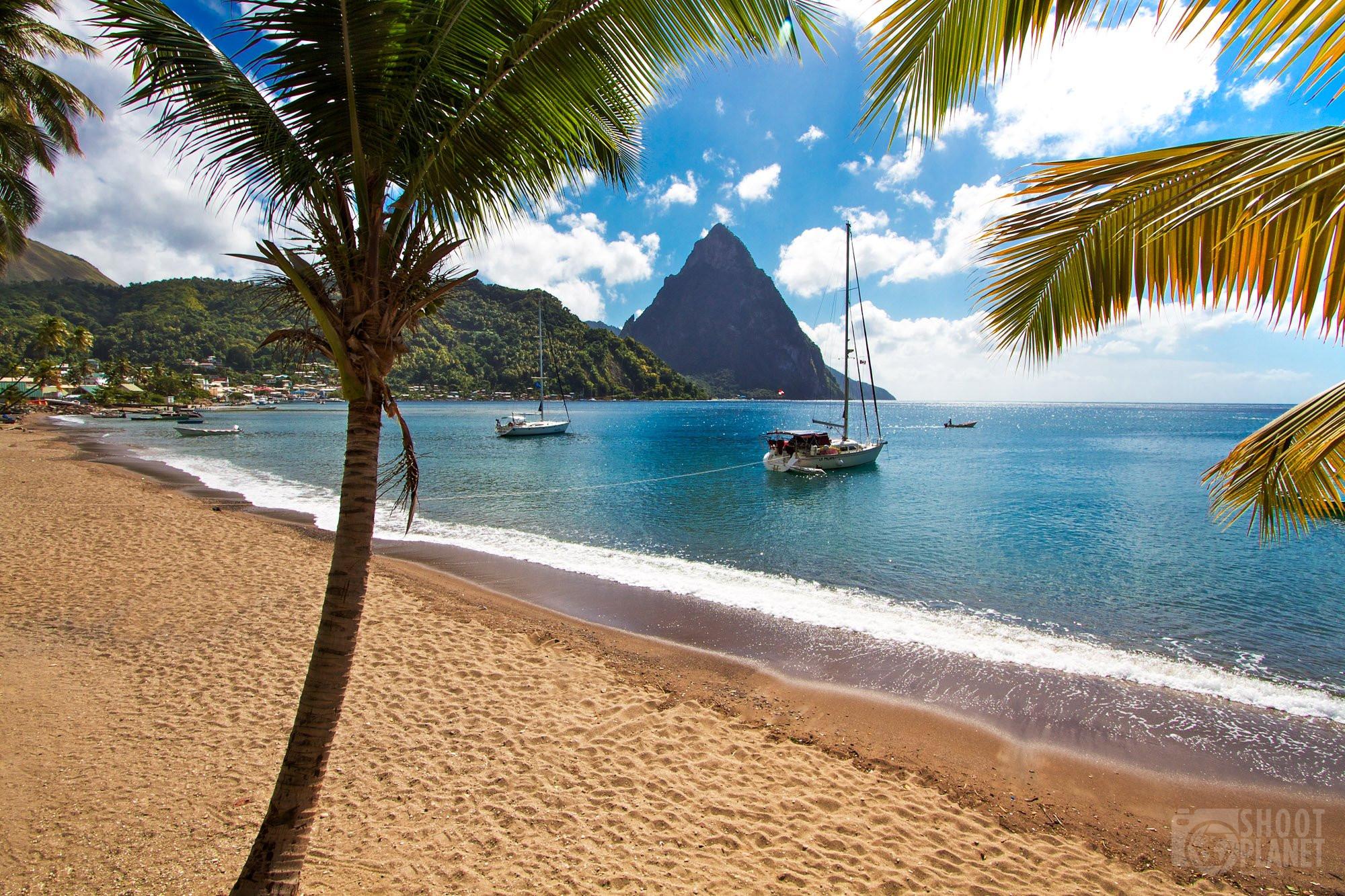 Sugar Beach in Saint Lucia Caribbean Island