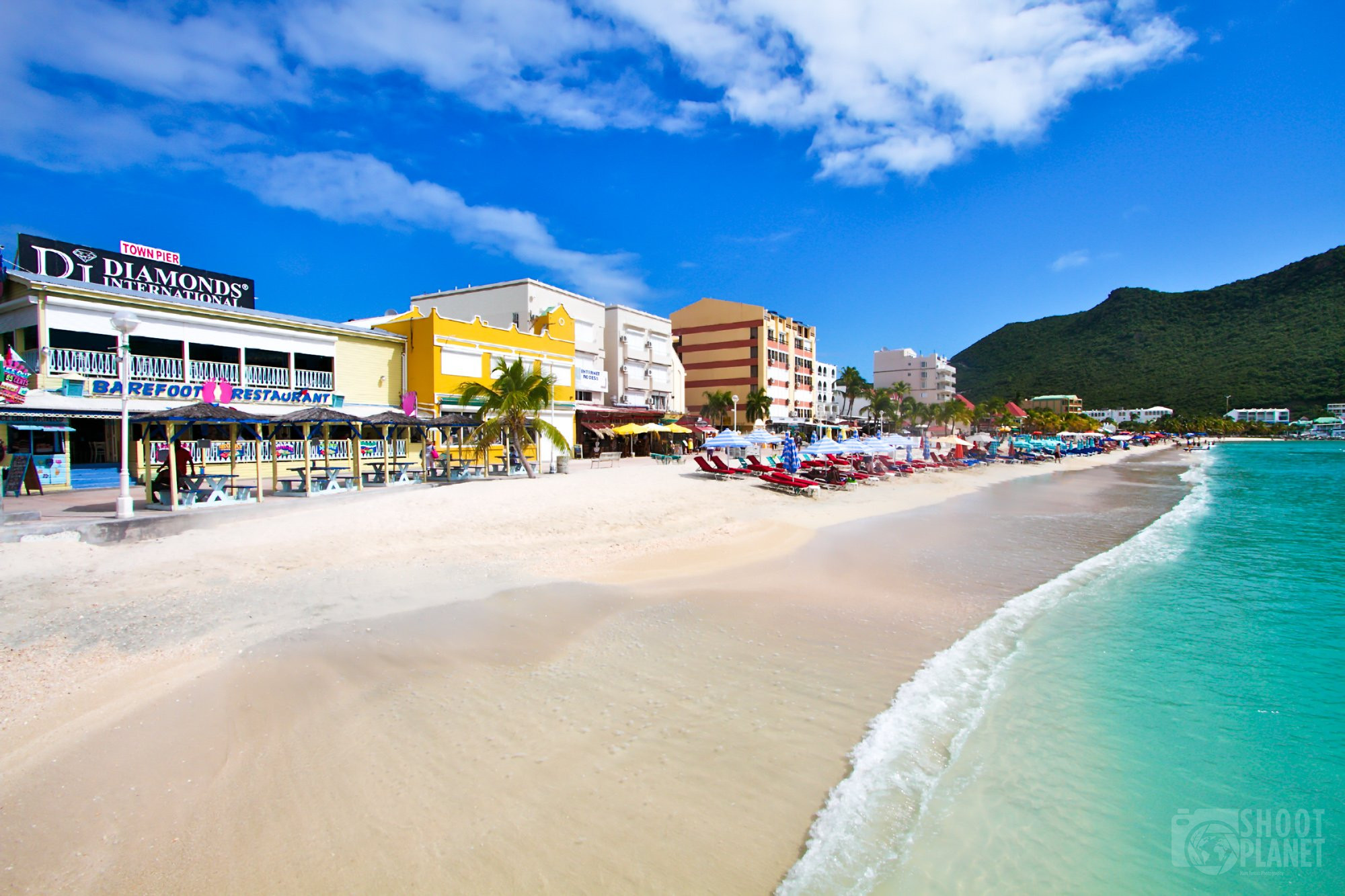 beach and diamond shop, Saint Martin Caribbean