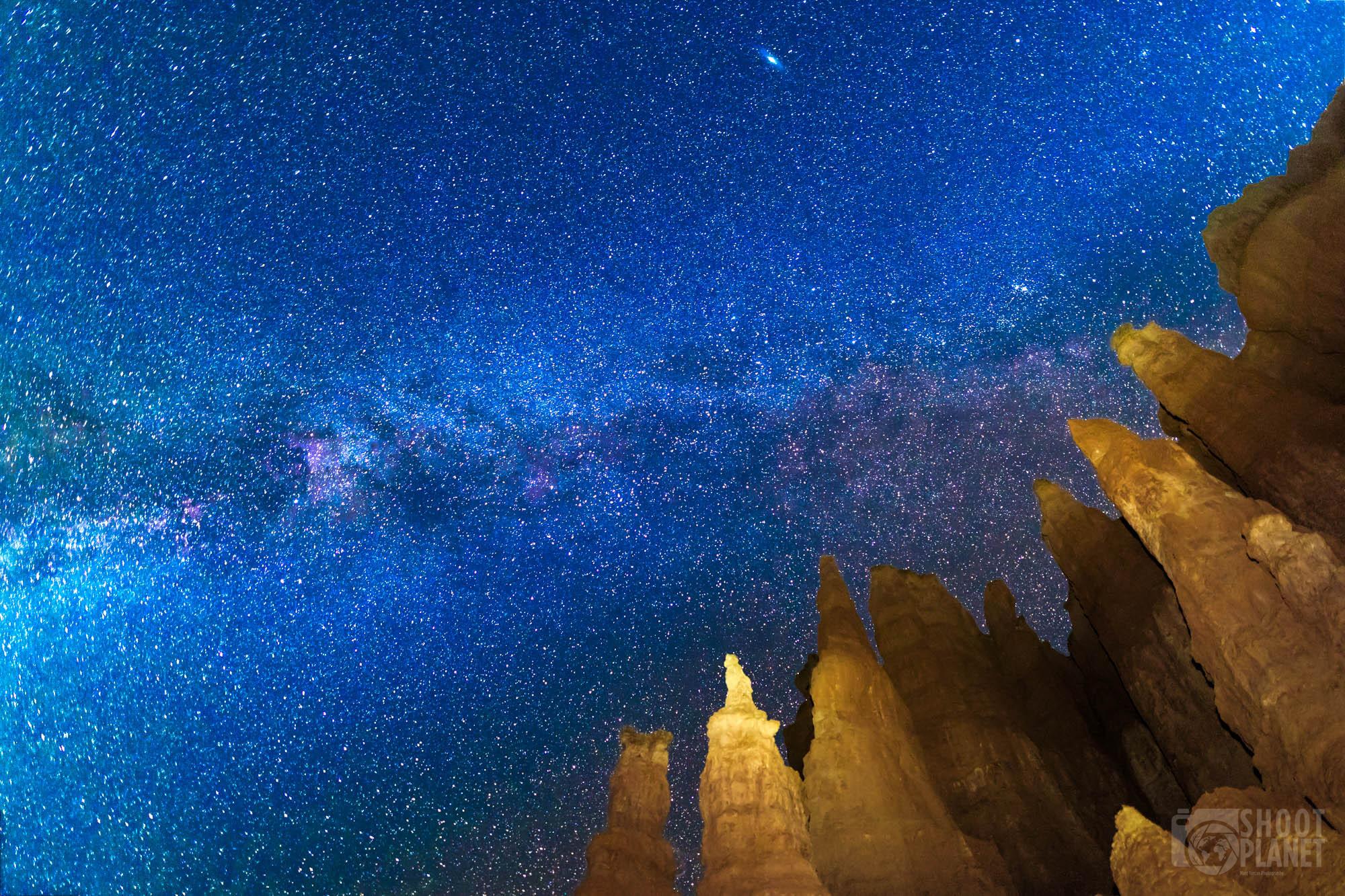 Bryce Canyon Milky Way lit-up rocks, USA