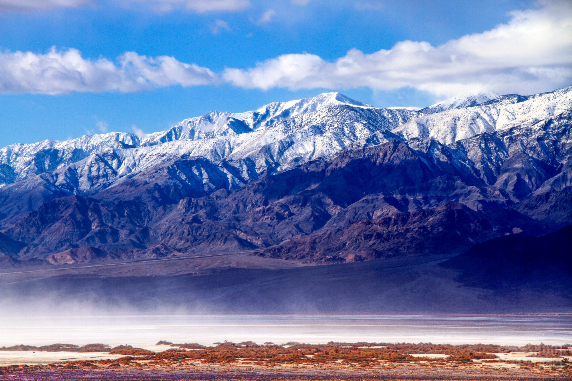 Badwater Basin snow-capped mountains, Death Valley California