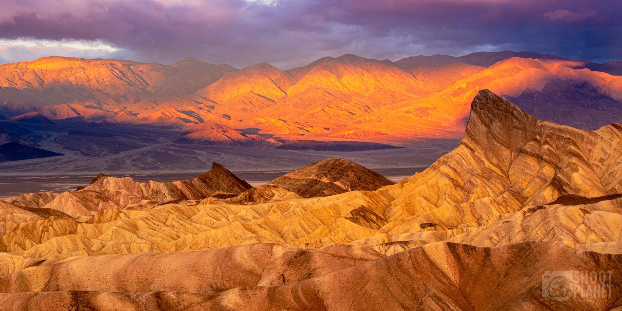 Zabriskie Point sunrise, Death Valley, California USA
