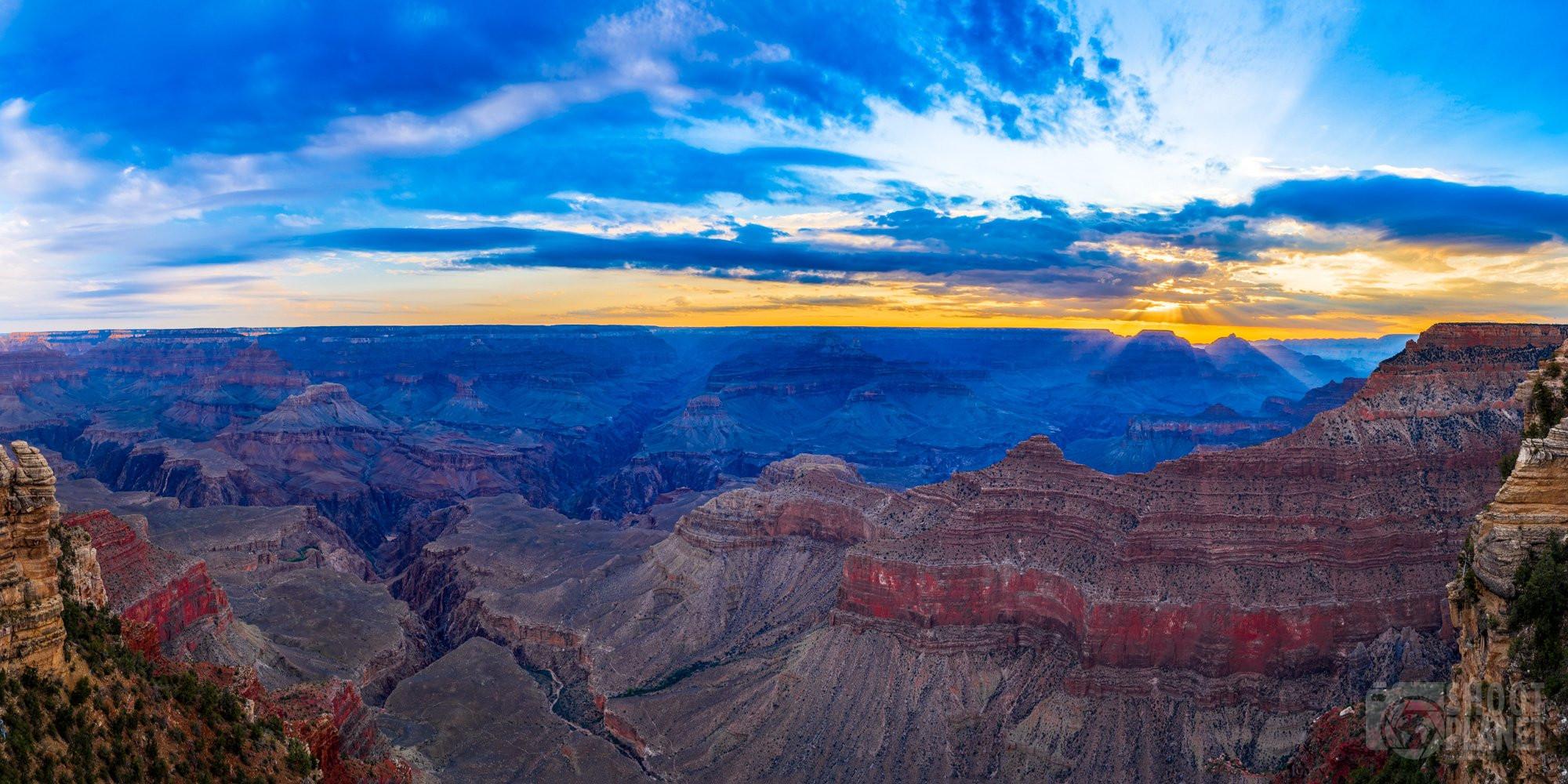Grand Canyon sunset light rays, Arizona USA