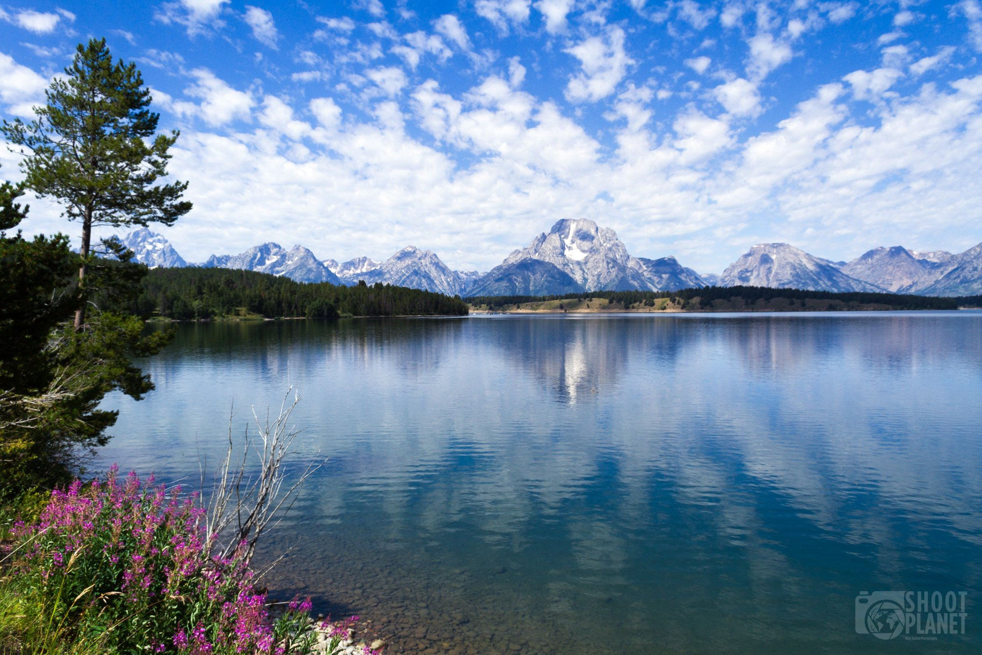 Grand Teton mountains lake reflection, Wyoming USA