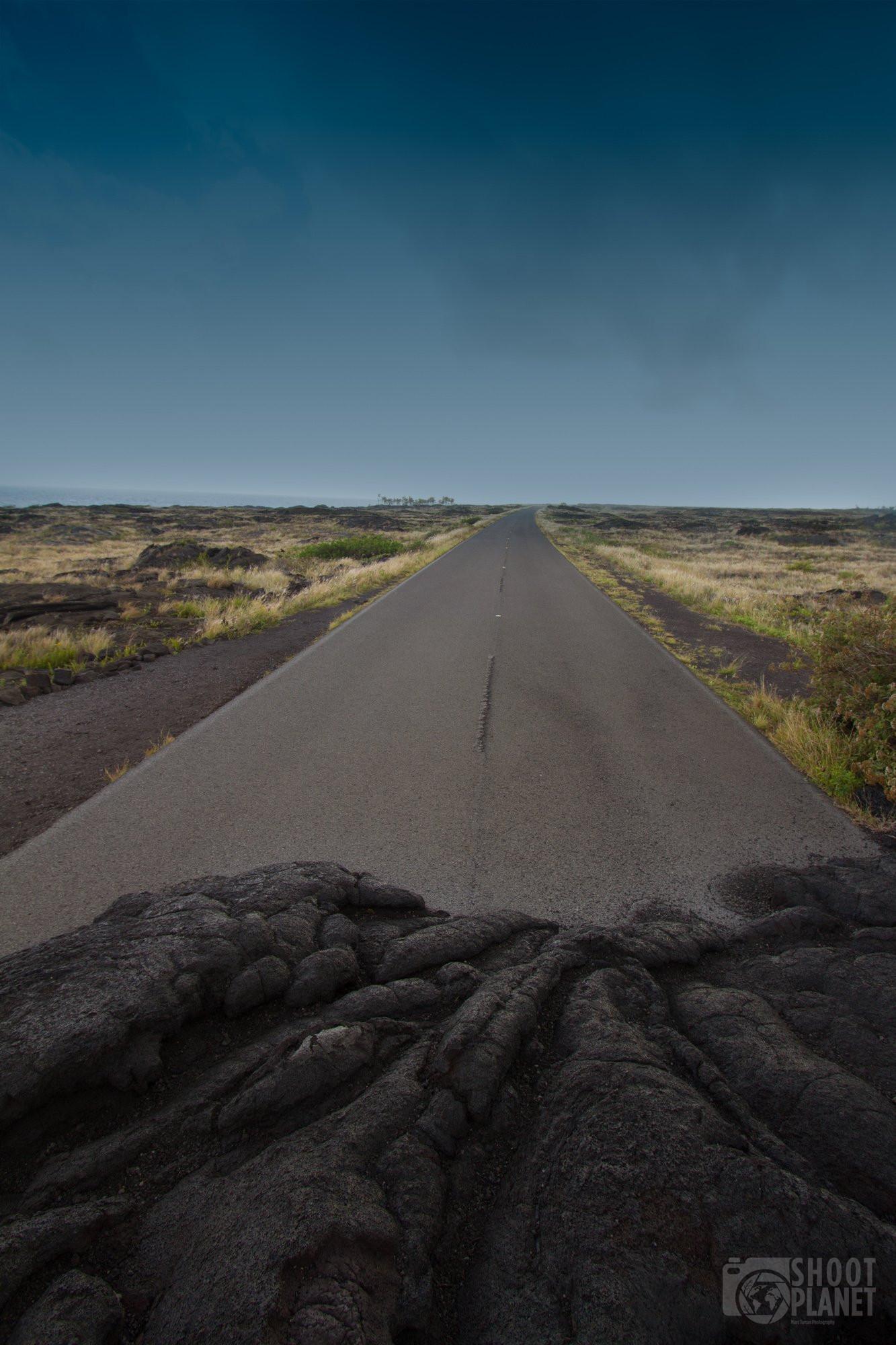 Road buried in lava rocks, Hawaii Island