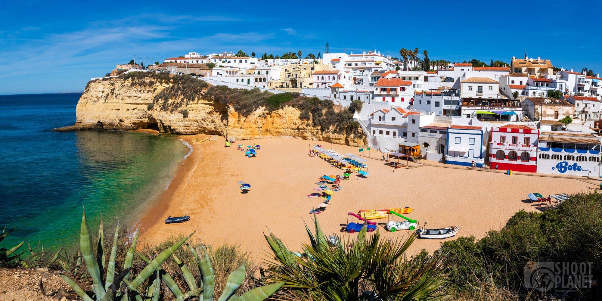 Carvoeiro village, beach, and cliffs, Algarve Portugal