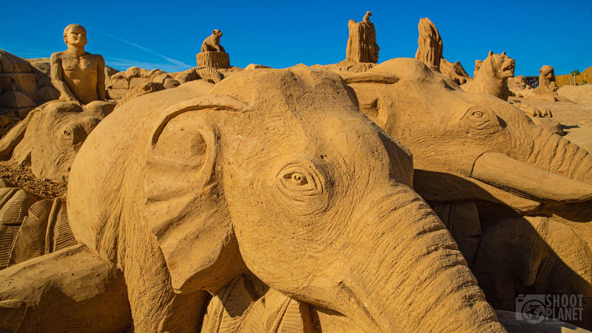 Sand city elephant statue, Lagos Portugal