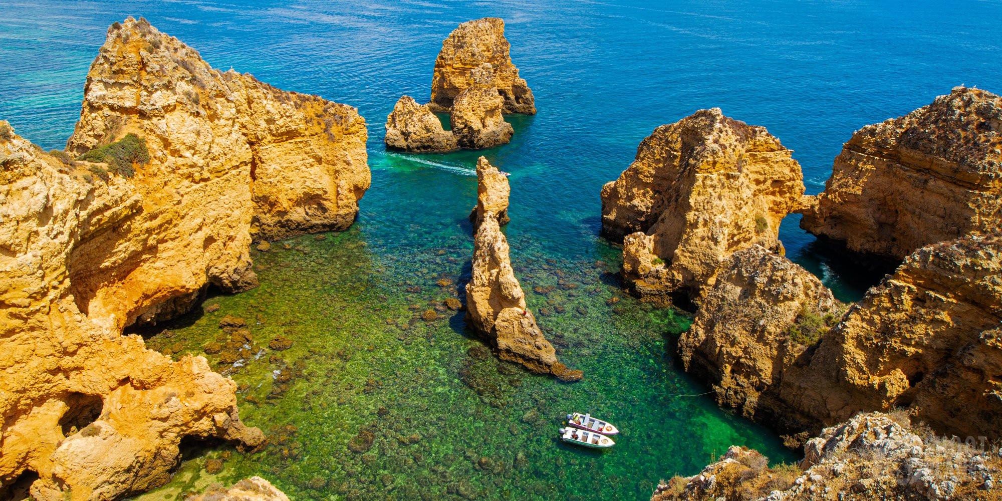 Ponta da Piedade aerial view, Algarve Portugal