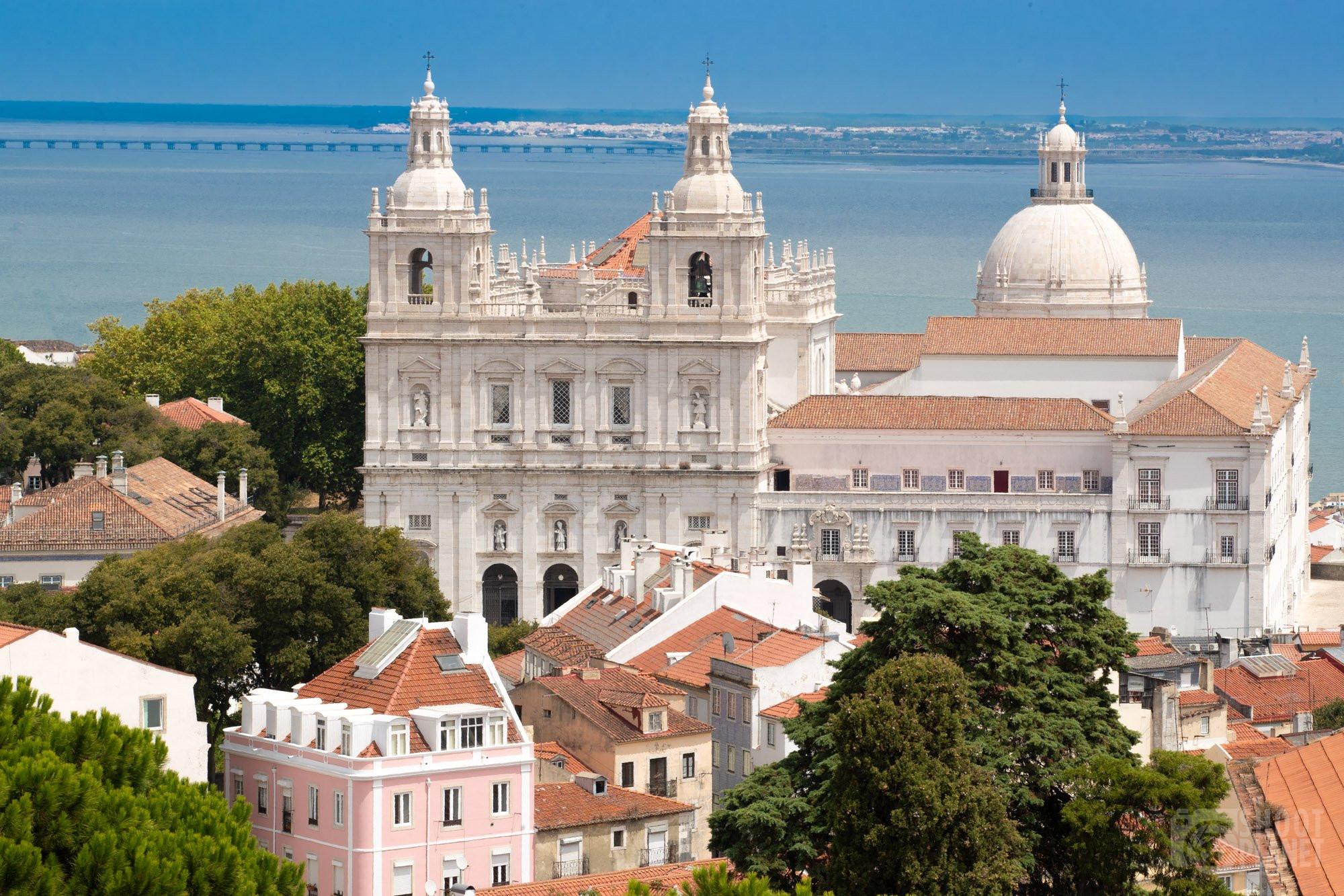 Amalfa neighborhood in Lisbon aerial view, Portugal