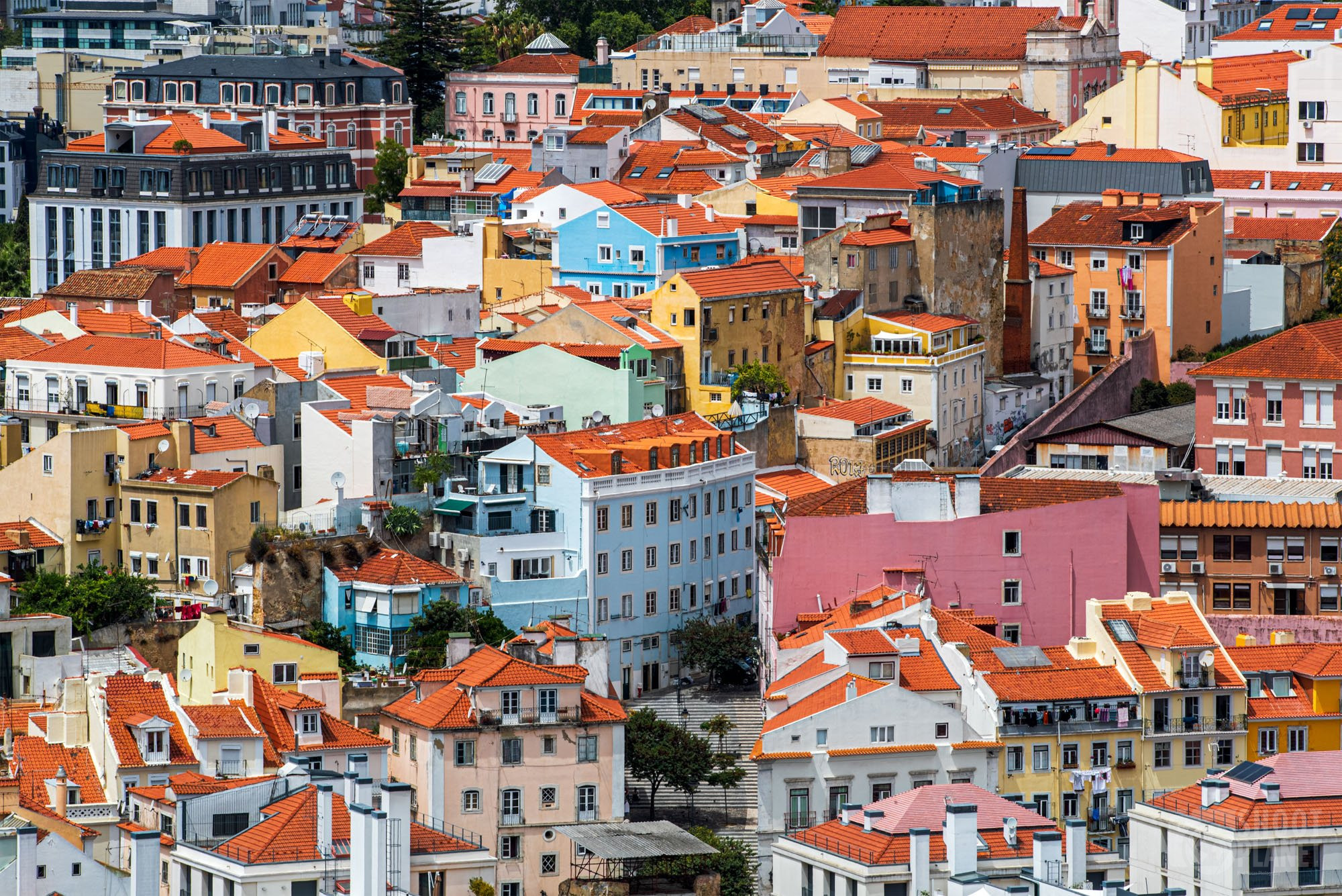 Colorful old town houses of Lisbon, Portugal