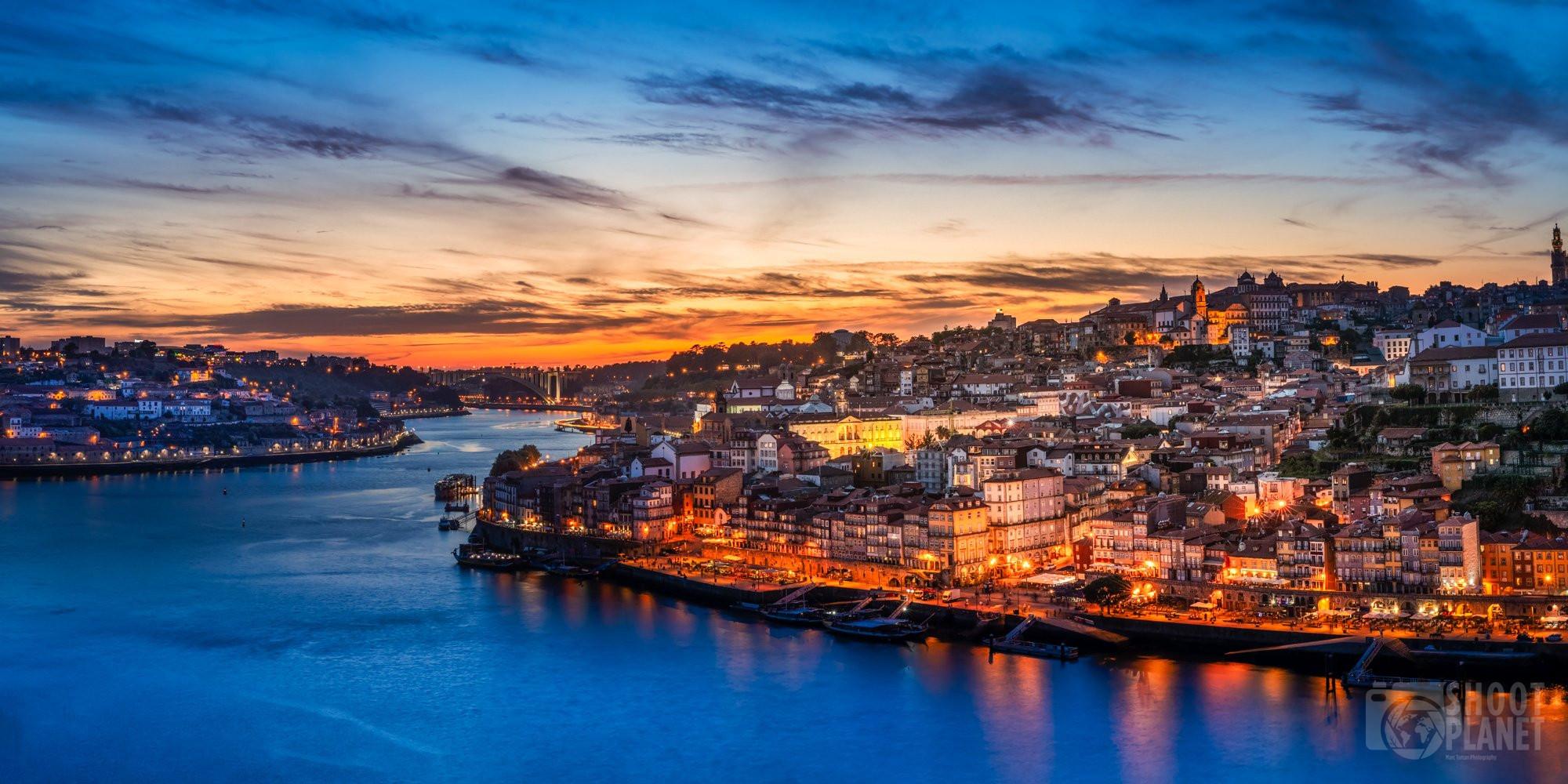 City and Douro River sunset, Porto, Portugal