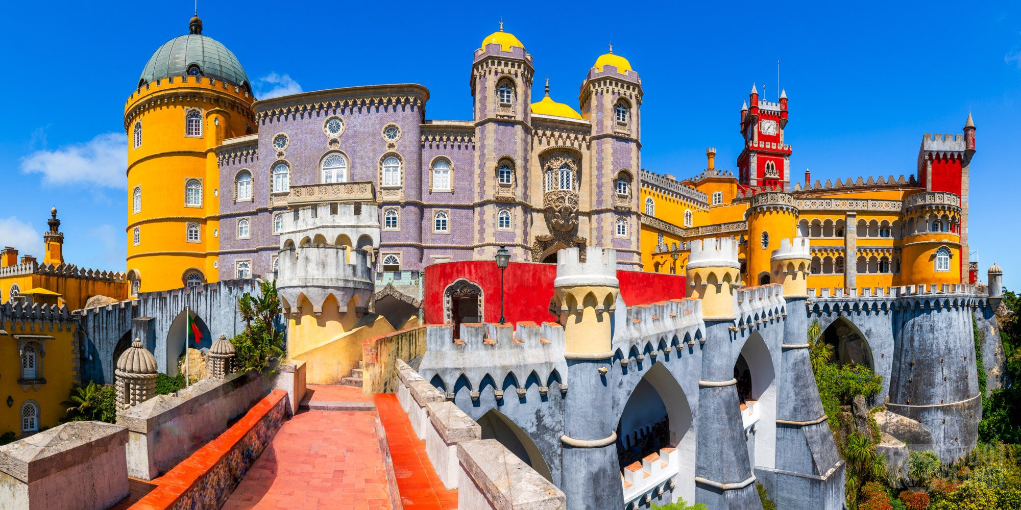 Colorful Pena Palace panorama in Sintra, Portugal