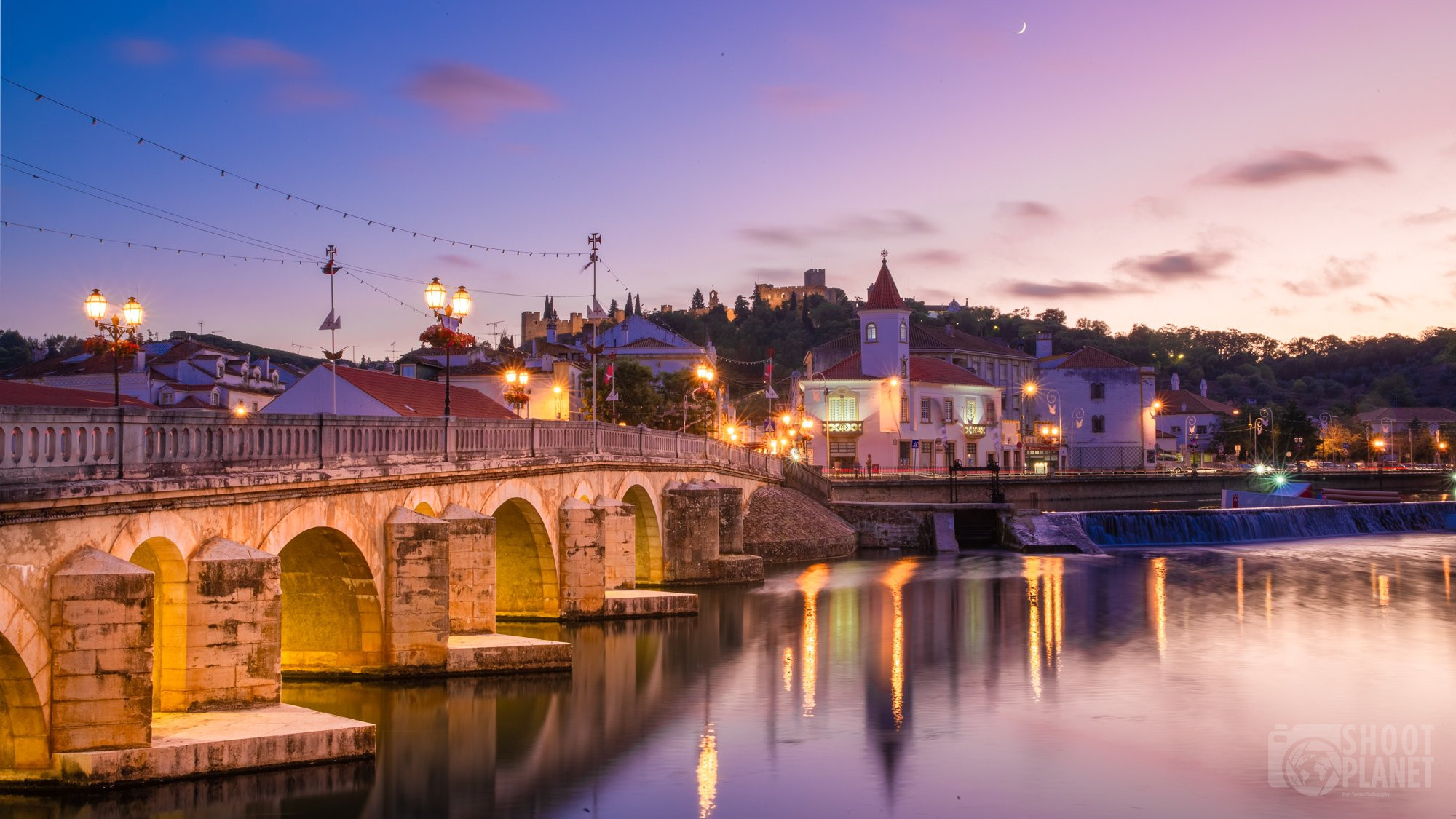 Tomar old town and bridge sunset, Portugal