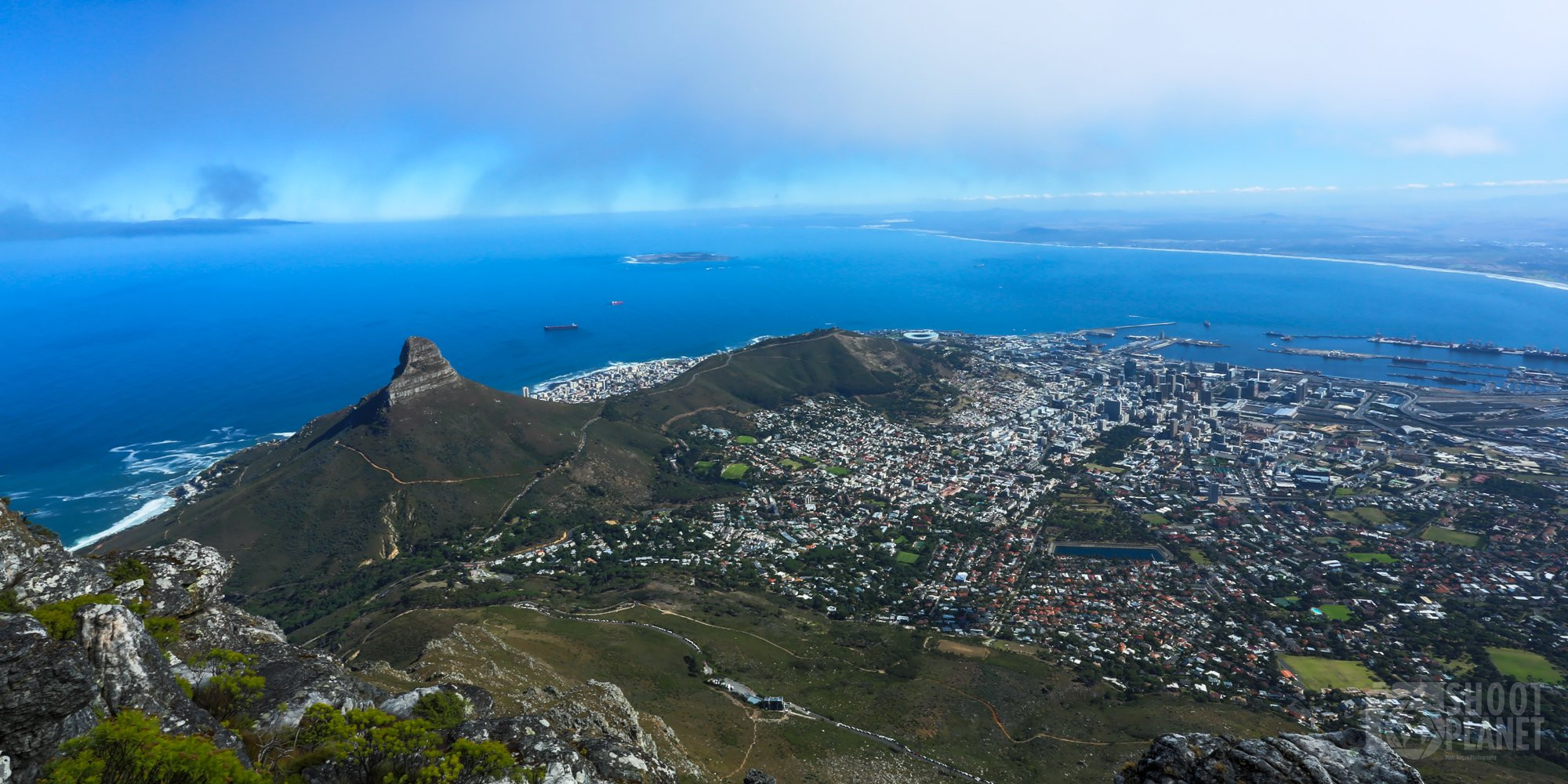 Aerial Cape Town city panorama, South Africa