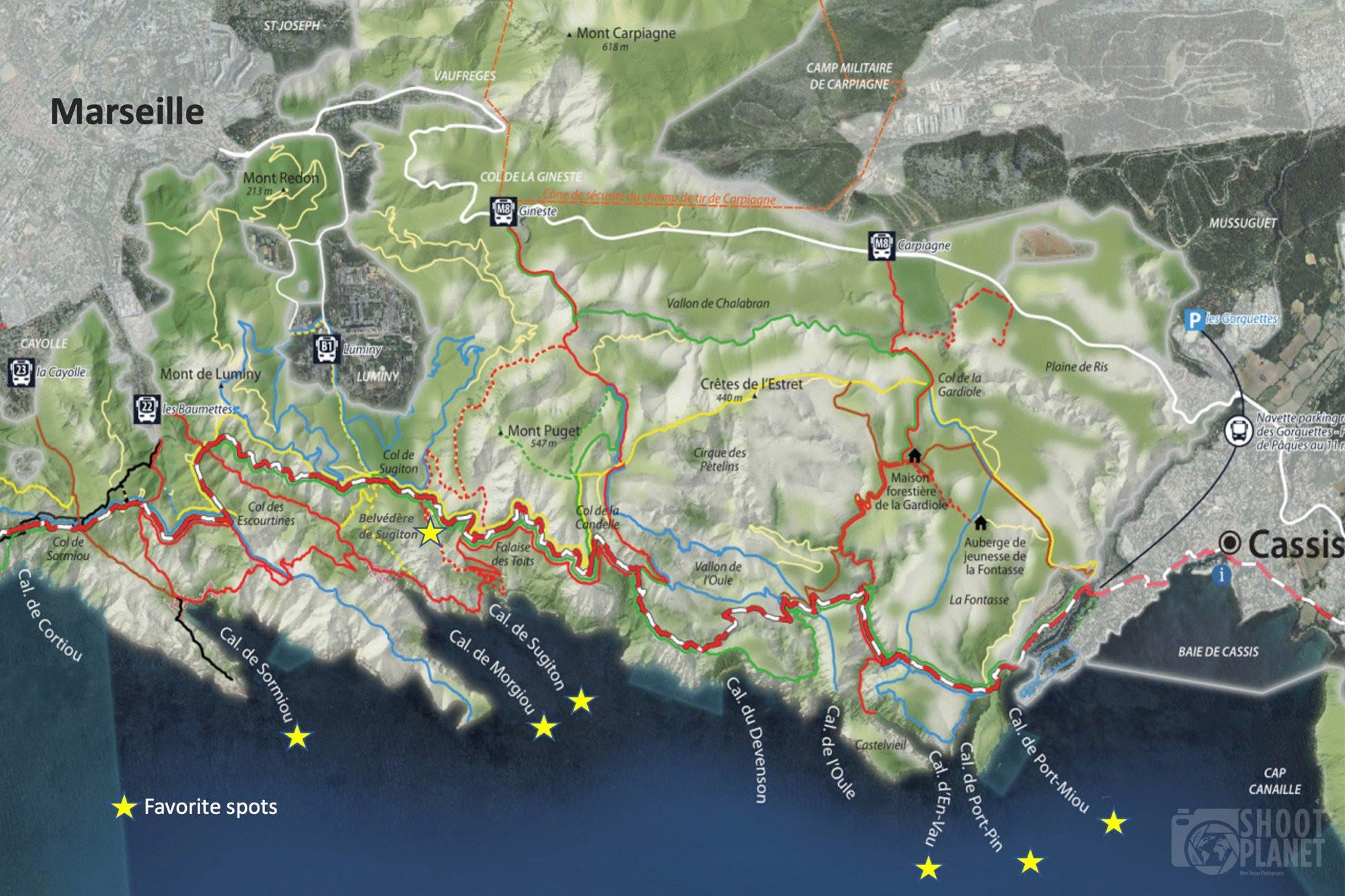 Calanques National Park map, france