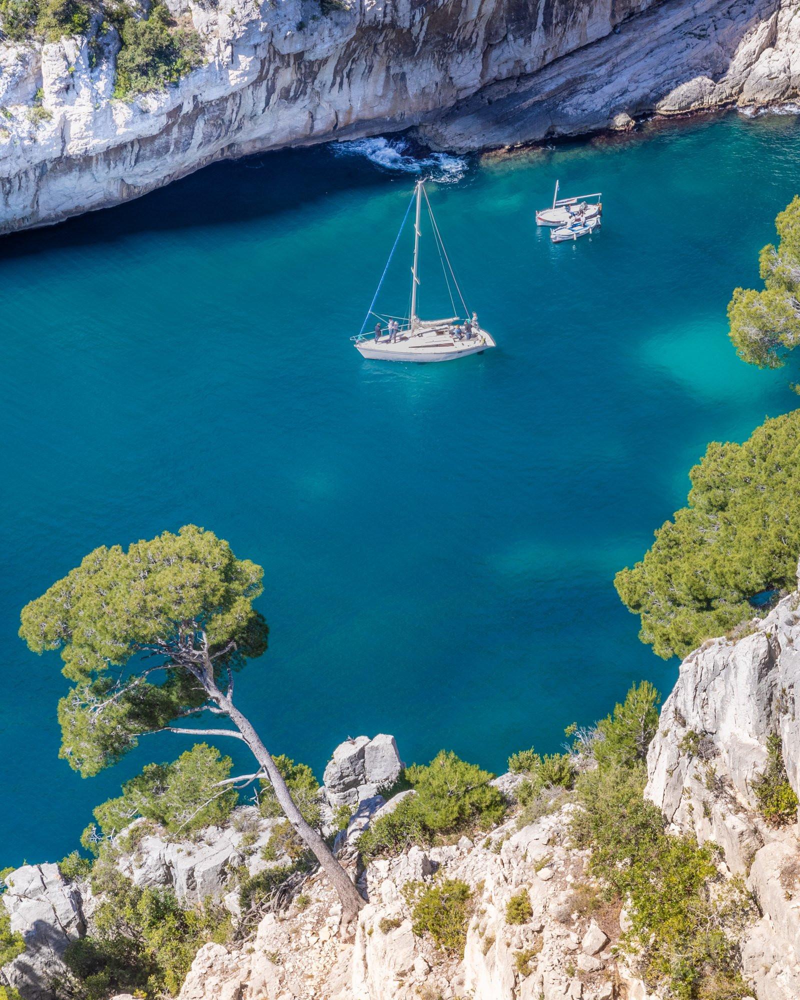 En-Vau Calanque boats, Azure coast France