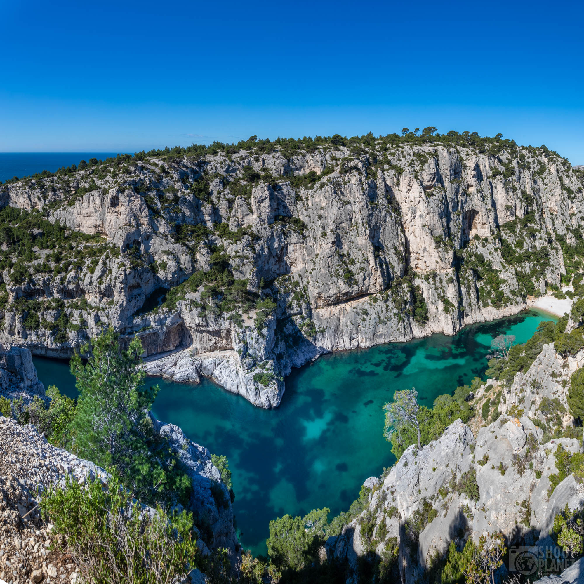 En-Vau calanque aerial view, Azure coast France