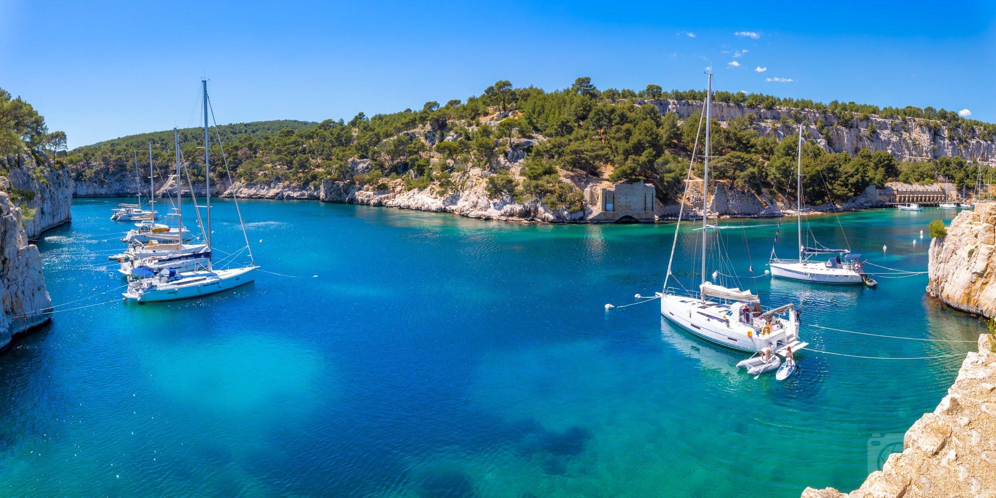 Port-Miou Calanque boats Azure coast France