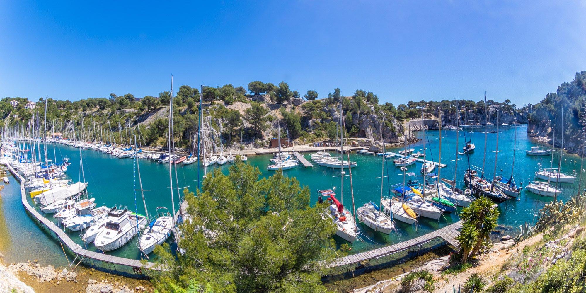 Port-Miou harbor panorama, Azure coast France