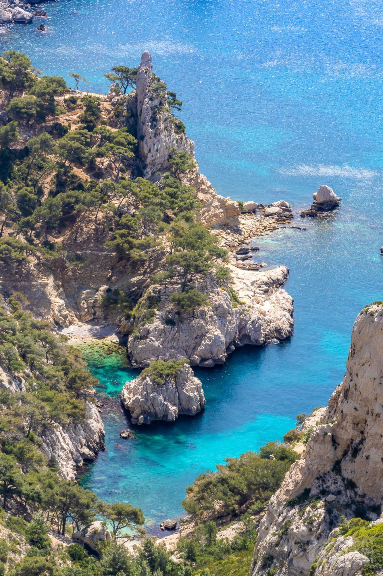 Sugiton Calanque aerial view , Azure coast France