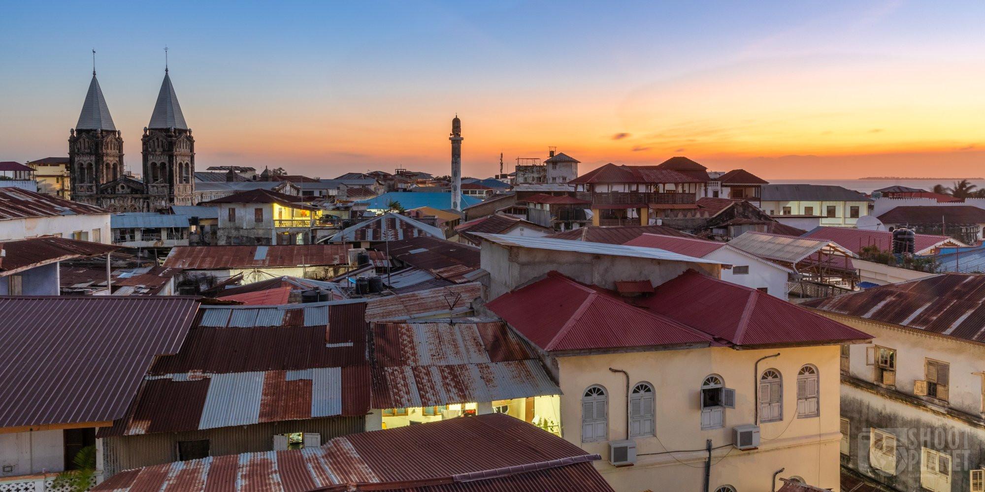 Stone town sunset skyline Zanzibar city, Tanzania
