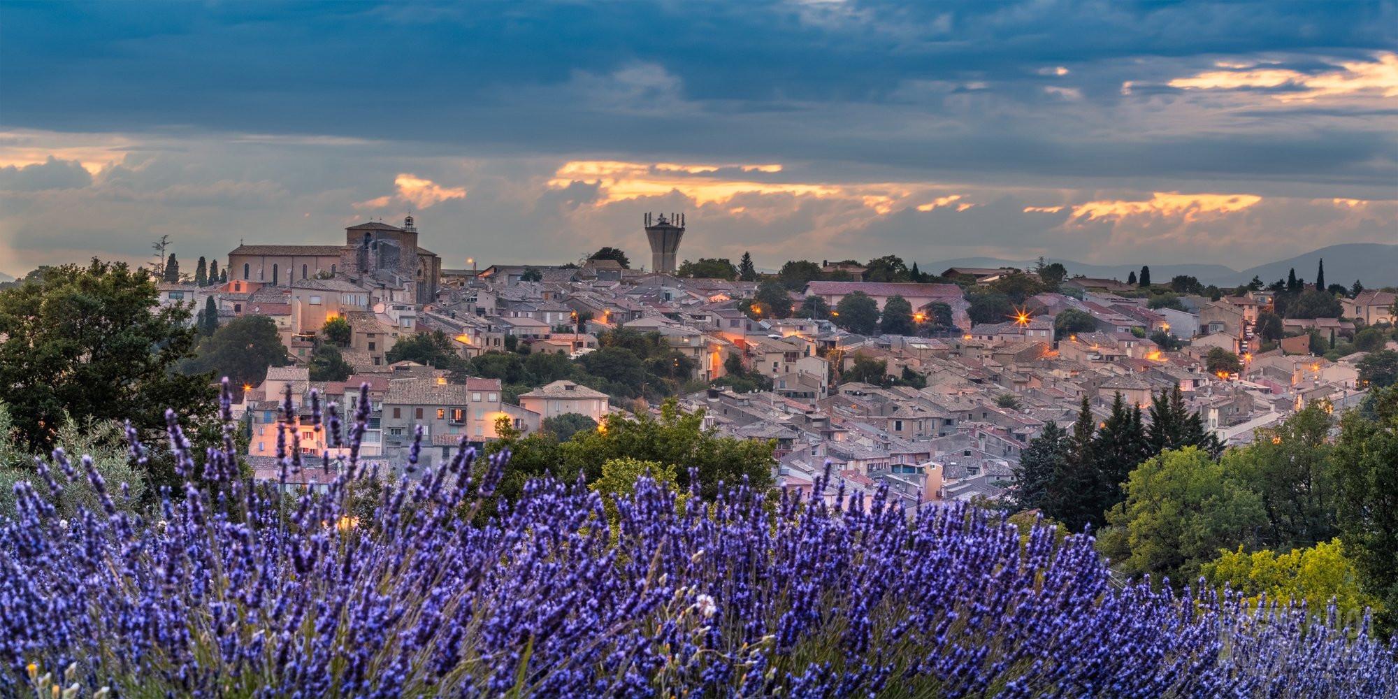 Valensole village colorful sunset, Haute-Provence France